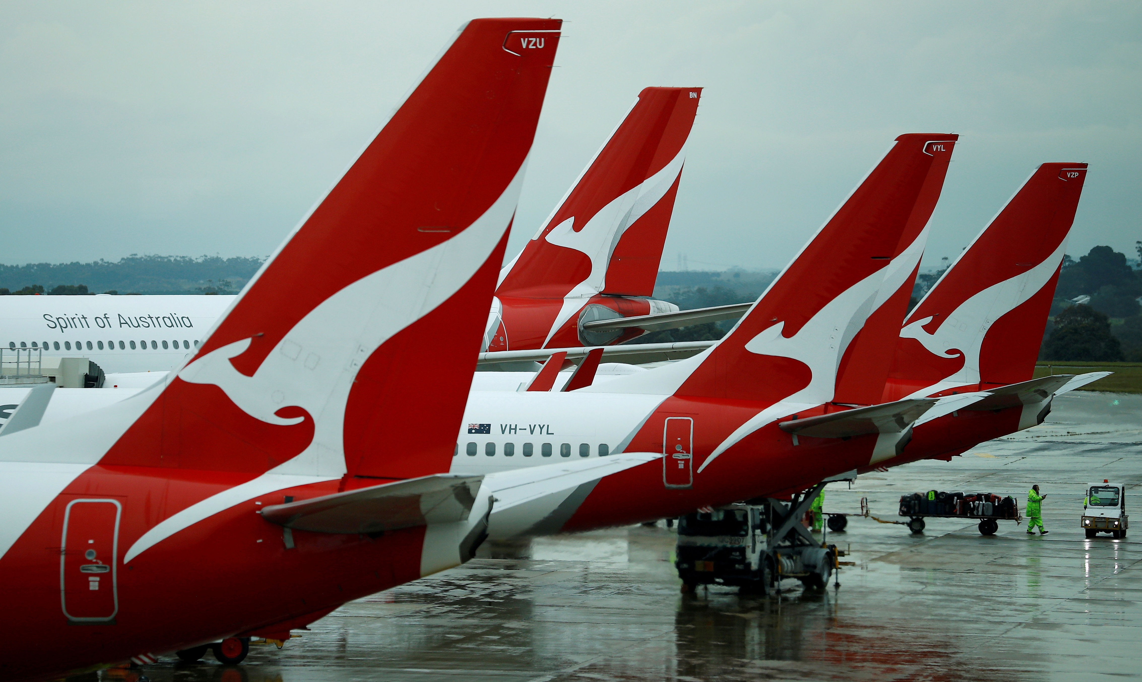 Qantas aircraft are seen on the tarmac at Melbourne International Airport in Melbourne, Australia, November 6, 2018. REUTERS/Phil Noble/File Photo