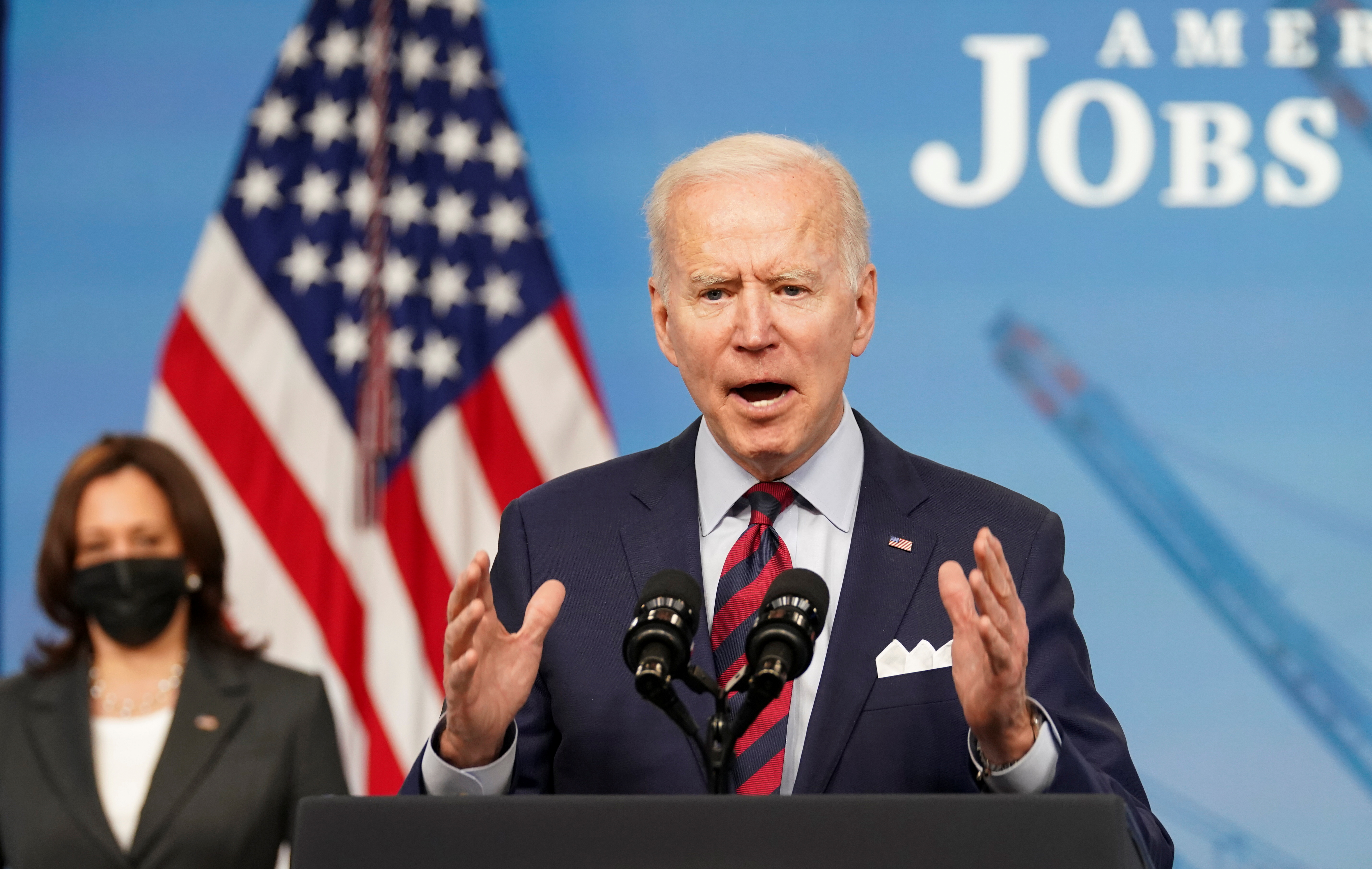 U.S. President Joe Biden speaks about jobs and the economy at the White House in Washington, U.S., April 7, 2021. REUTERS/Kevin Lamarque