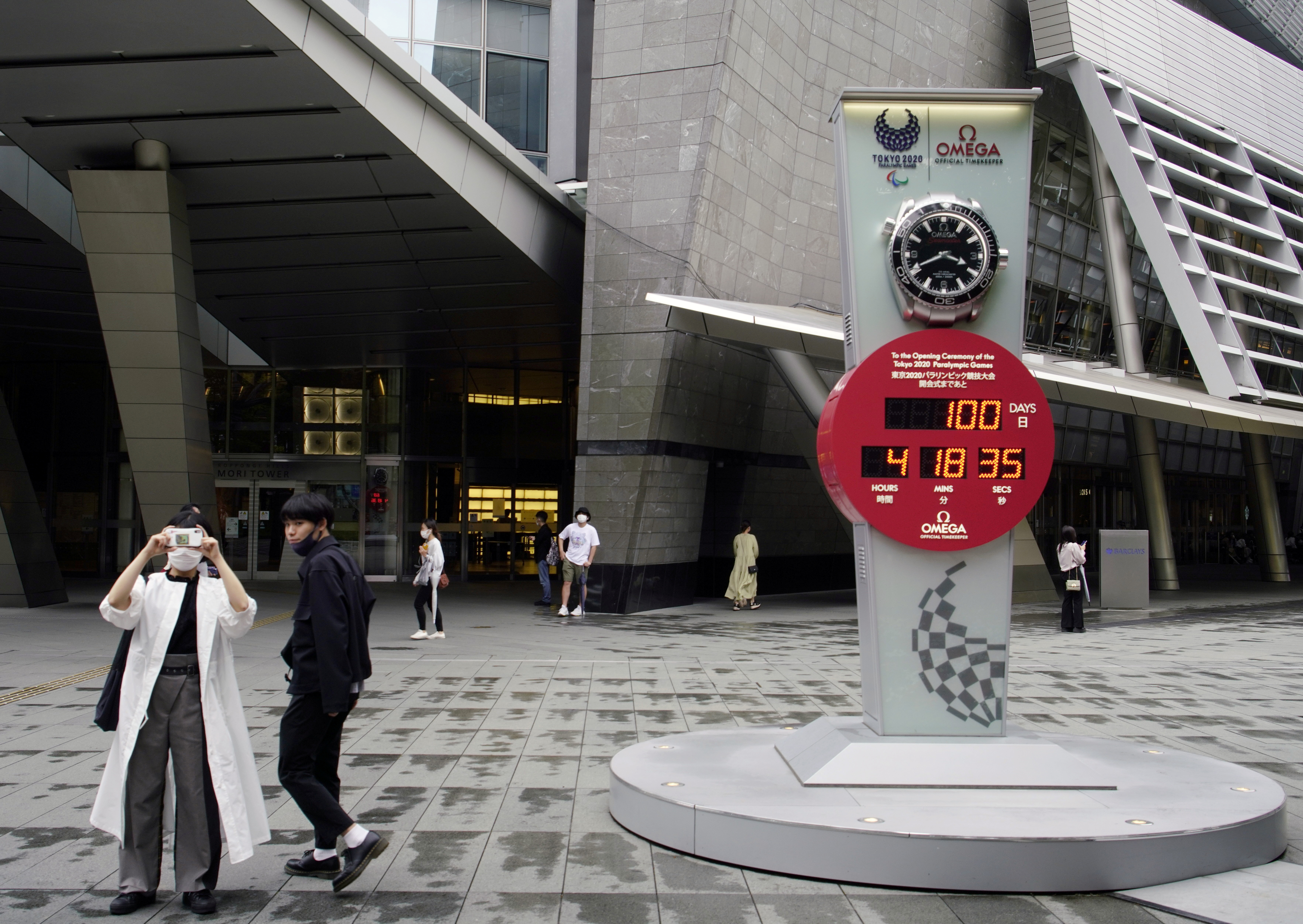 A countdown clock for the Tokyo 2020 Paralympic Games, on the day to mark 100 days countdown to the summer games that have been postponed to 2021 due to the coronavirus disease (COVID-19) outbreak, is seen in Tokyo, Japan May 16, 2021. REUTERS/Naoki Ogura