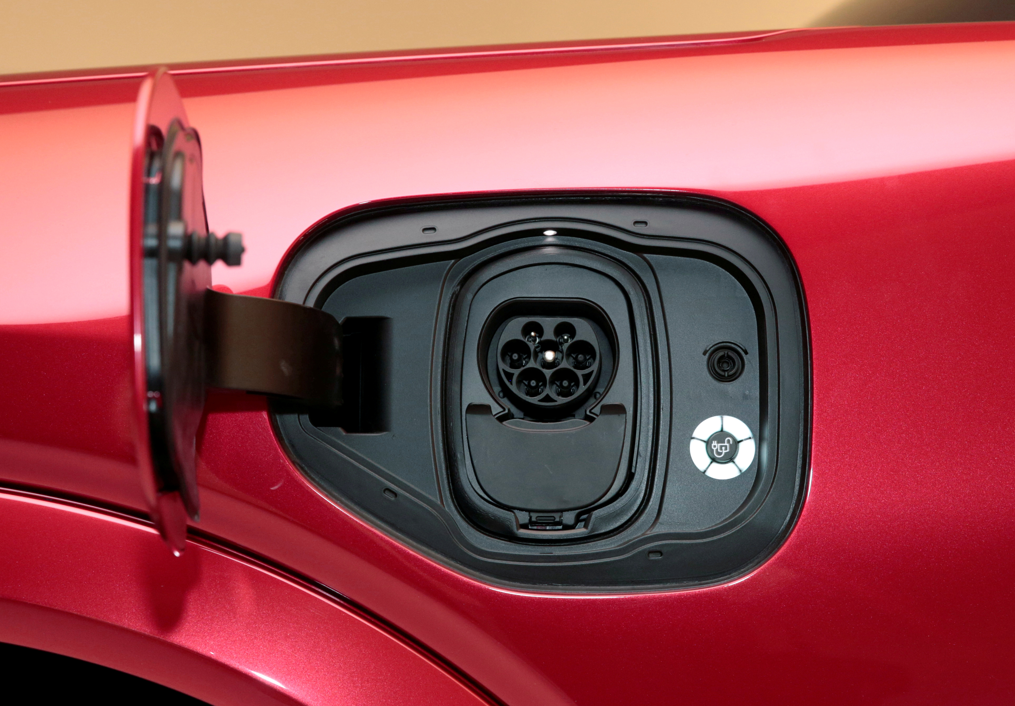 The charging socket is seen on Ford Motor Co's all-new electric Mustang Mach-E vehicle during a photo shoot at a studio in Warren, Michigan, U.S. October 29, 2019.  REUTERS/Rebecca Cook