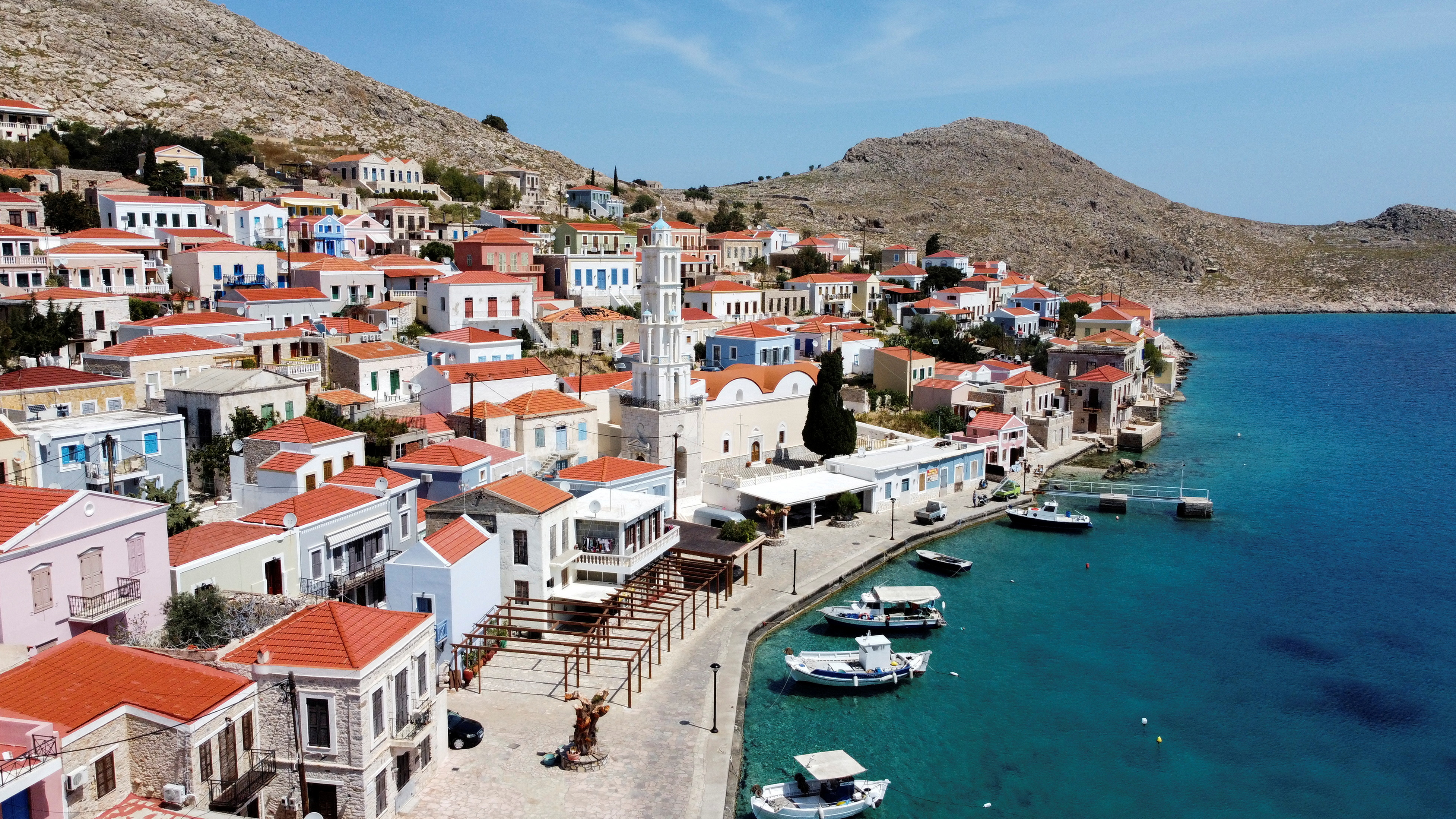 View of the town of Halki, amid the coronavirus disease (COVID-19) pandemic, on the island of Halki, Greece, April 13, 2021. Picture taken with a drone. REUTERS/Vassilis Triandafyllou/File Photo