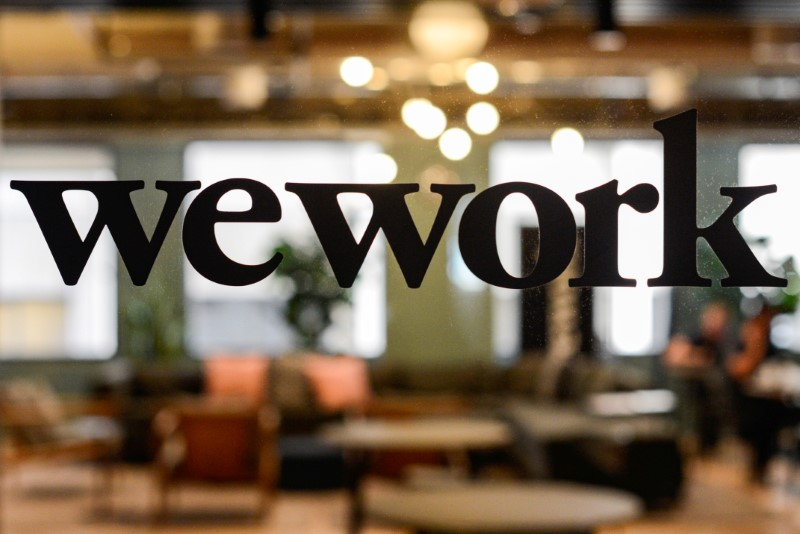 A WeWork logo is seen at a WeWork office in San Francisco, California, U.S. September 30, 2019.  REUTERS/Kate Munsch