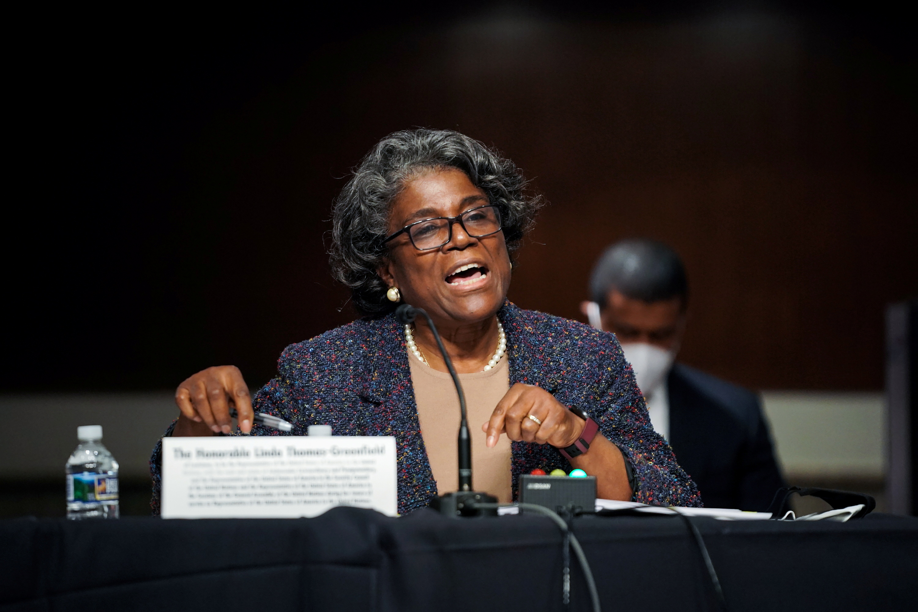 Linda Thomas-Greenfield answers questions during the Senate Foreign Relations Committee hearing on her nomination to be the United States Ambassador to the United Nations, on Capitol Hill in Washington, D.C., U.S., January 27, 2021. Greg Nash/Pool via REUTERS