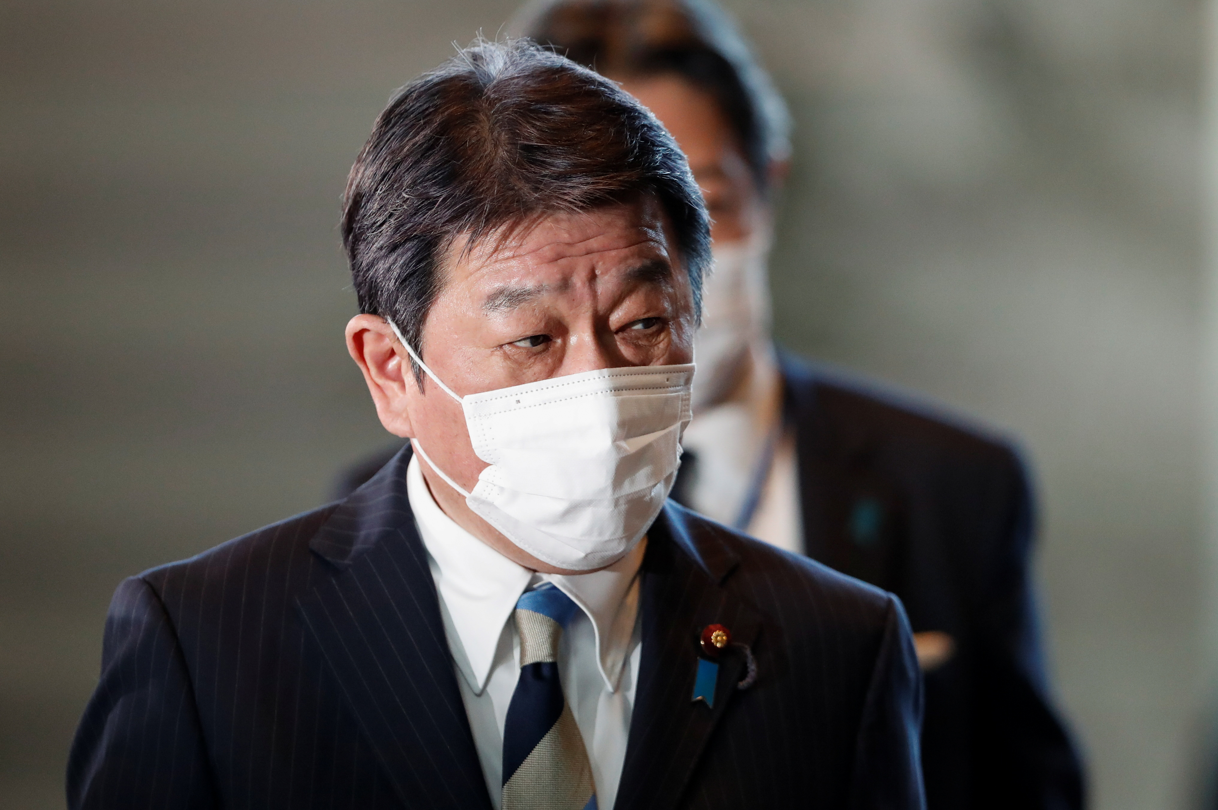 Japan's new Foreign Minister Toshimitsu Motegi arrives at prime minister's office in Tokyo, Japan October 4, 2021.  REUTERS/Issei Kato