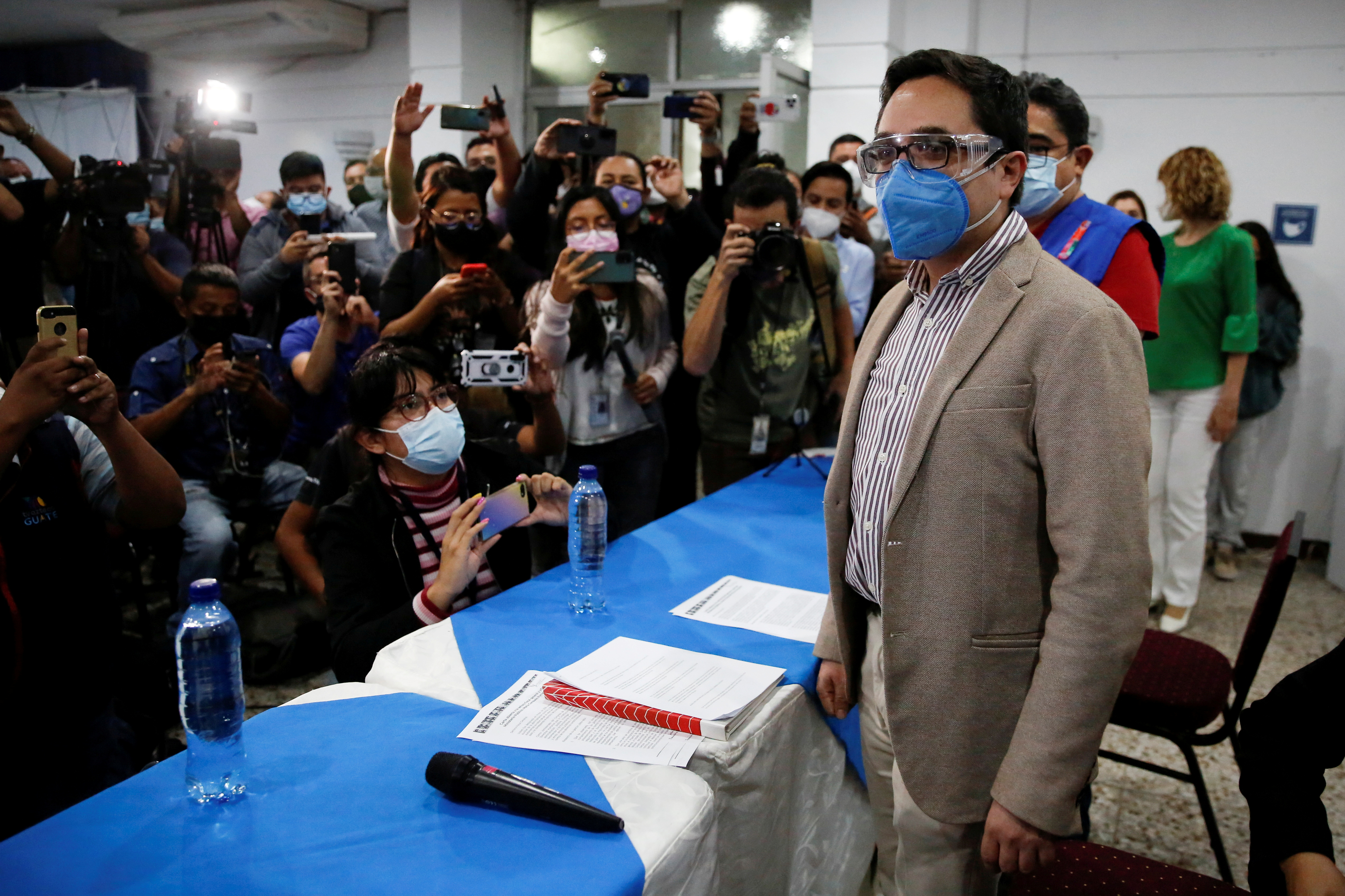 Juan Francisco Sandoval, who was removed by Guatemala's Attorney General as head of the Special Prosecutor's Office Against Impunity (FECI), arrives for a news conference in Guatemala City, Guatemala July 23, 2021. REUTERS/Luis Echeverria/File Photo