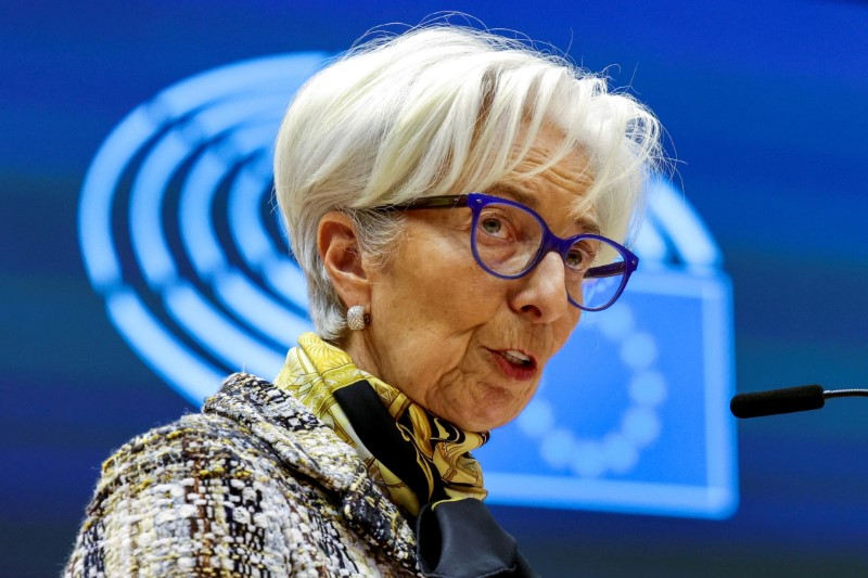 European Central Bank President Christine Lagarde addresses European lawmakers during a plenary session at the European Parliament in Brussels, Belgium February 8, 2021. Olivier Matthys/Pool via REUTERS/File Photo