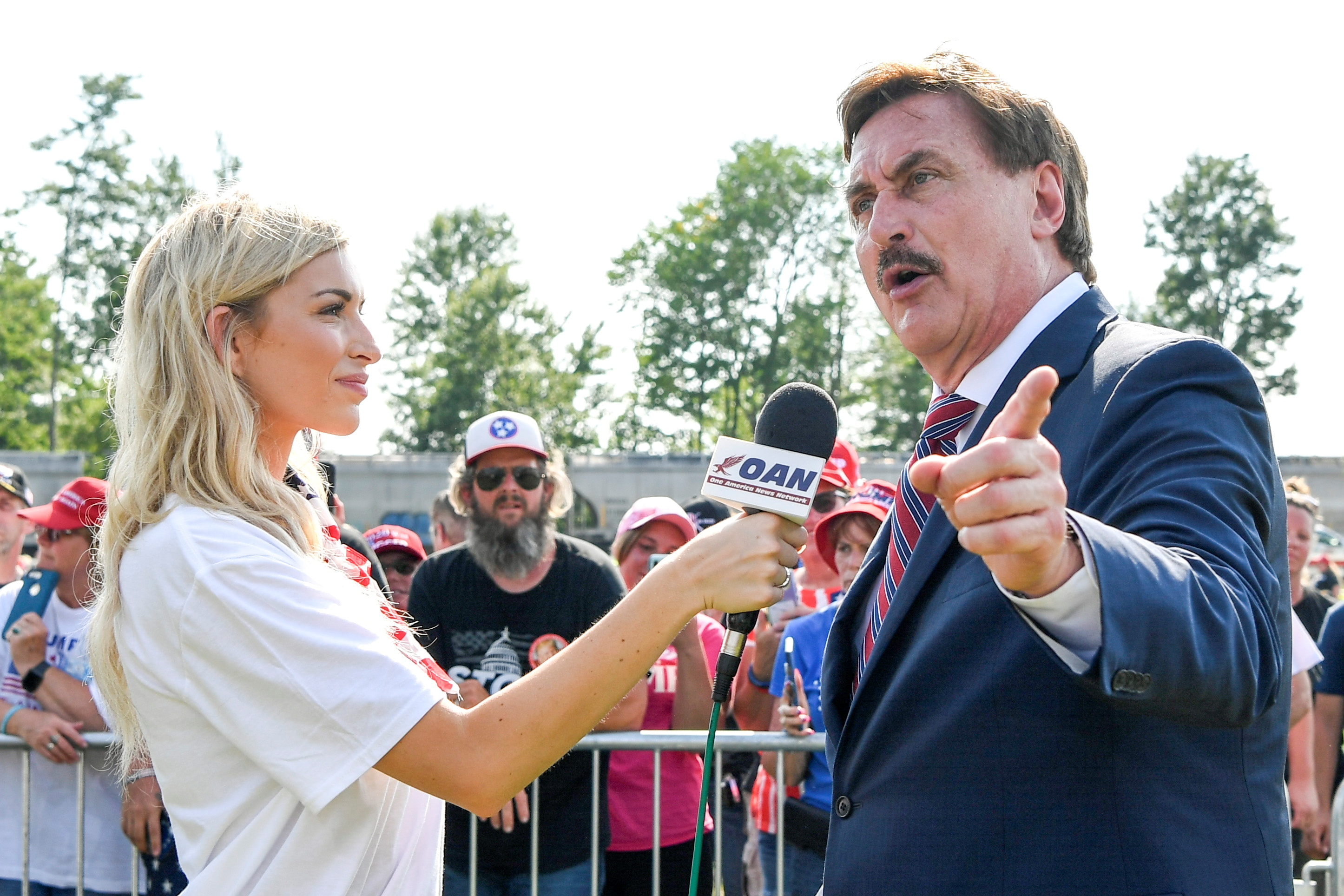 MyPillow CEO Mike Lindell is interviewed by the One America News Network during former U.S. president Donald Trump's rally at the Lorain County Fairgrounds in Wellington, Ohio, U.S., June 26, 2021.  REUTERS/Gaelen Morse/File Photo