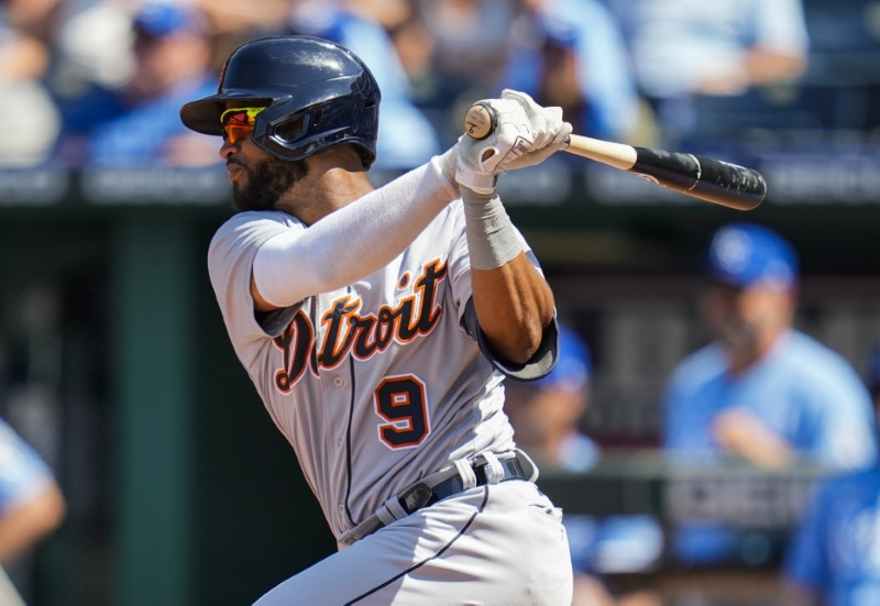 Jun 16, 2021; Kansas City, Missouri, USA; Detroit Tigers second baseman Willi Castro (9) hits a single against the Kansas City Royals during the eighth inning at Kauffman Stadium. Mandatory Credit: Jay Biggerstaff-USA TODAY Sports