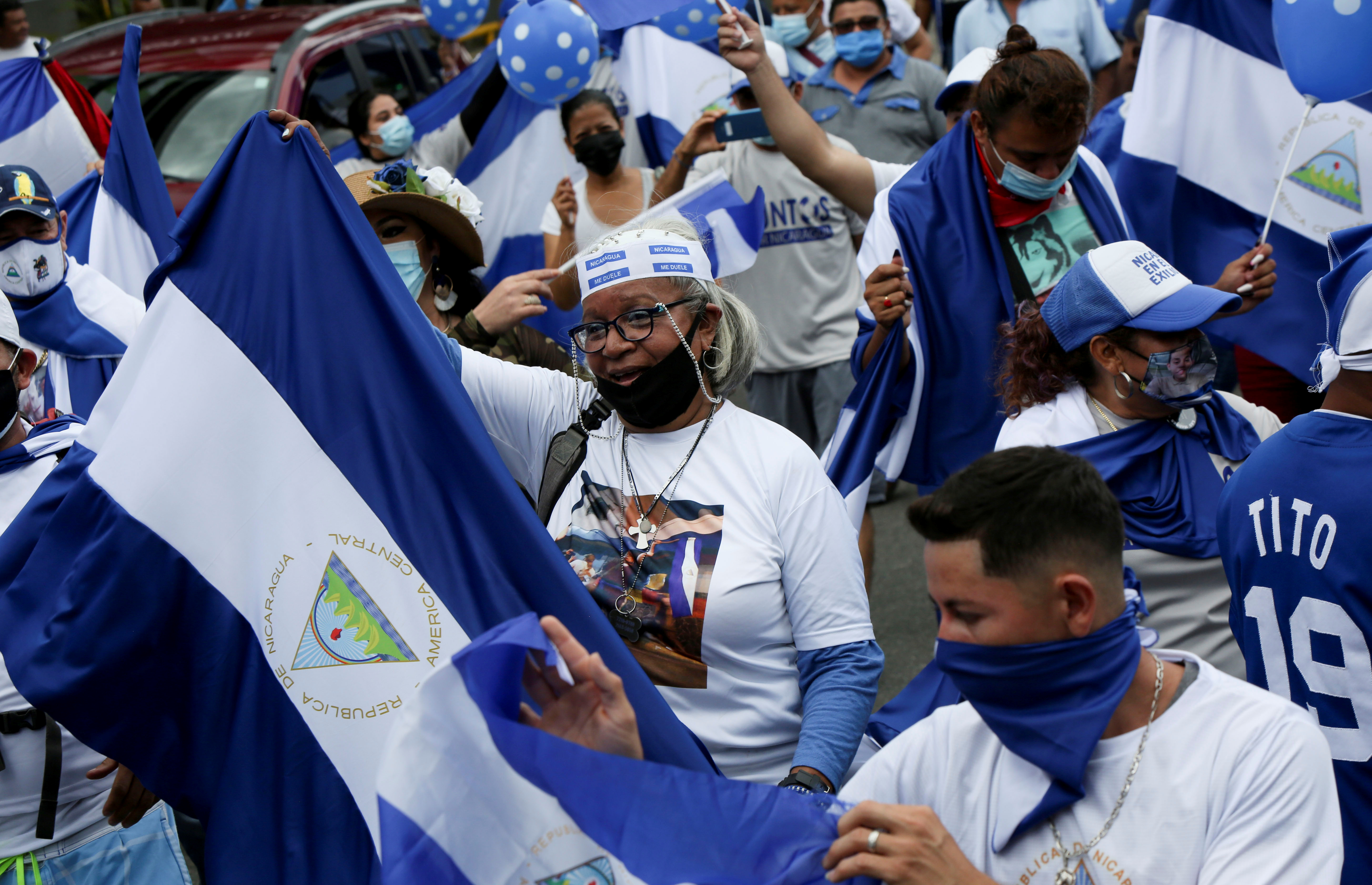 Nicaraguans exiled in Costa Rica protest against the government of President Daniel Ortega, in San Jose, Costa Rica September 12, 2021. REUTERS/Mayela Lopez