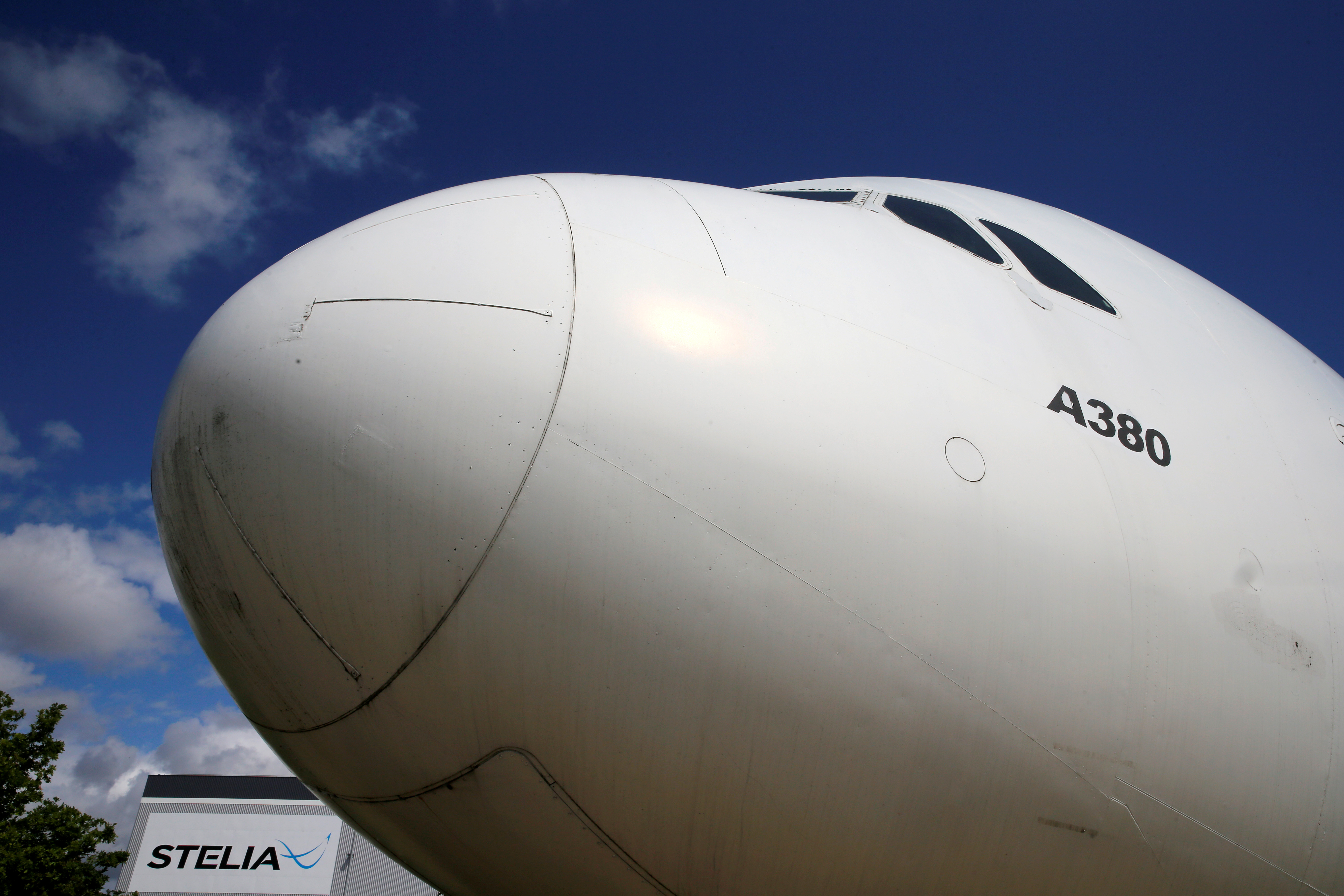 The nose of an Airbus A380 is seen outside the factory of Stelia Aerospace, a subsidiary of Airbus, in Meaulte, France, July 2, 2020. REUTERS/Pascal Rossignol/File Photo