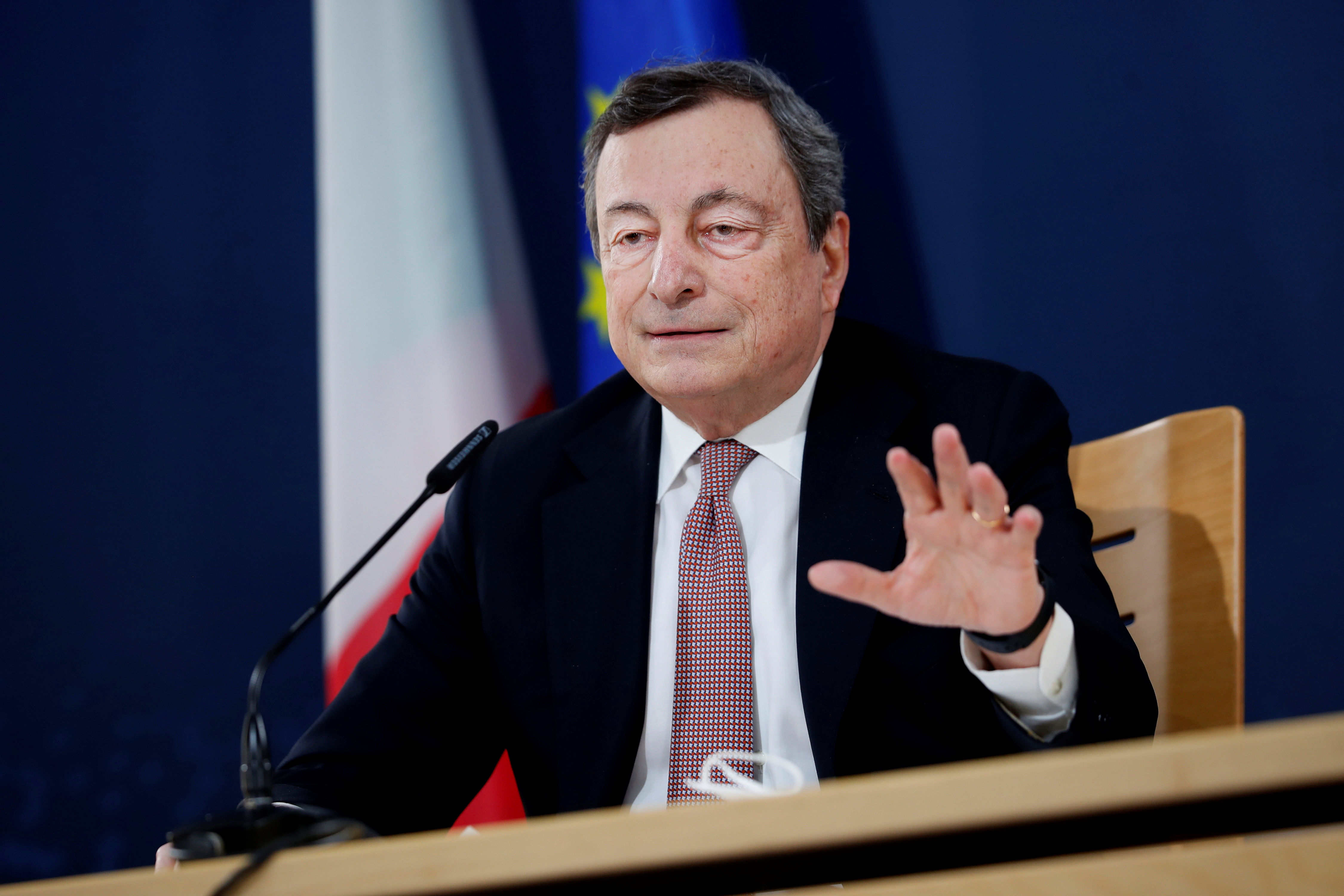 Italian Prime Minister Mario Draghi speaks during a media conference in Porto, Portugal, May 8, 2021. Francisco Seco/Pool via REUTERS