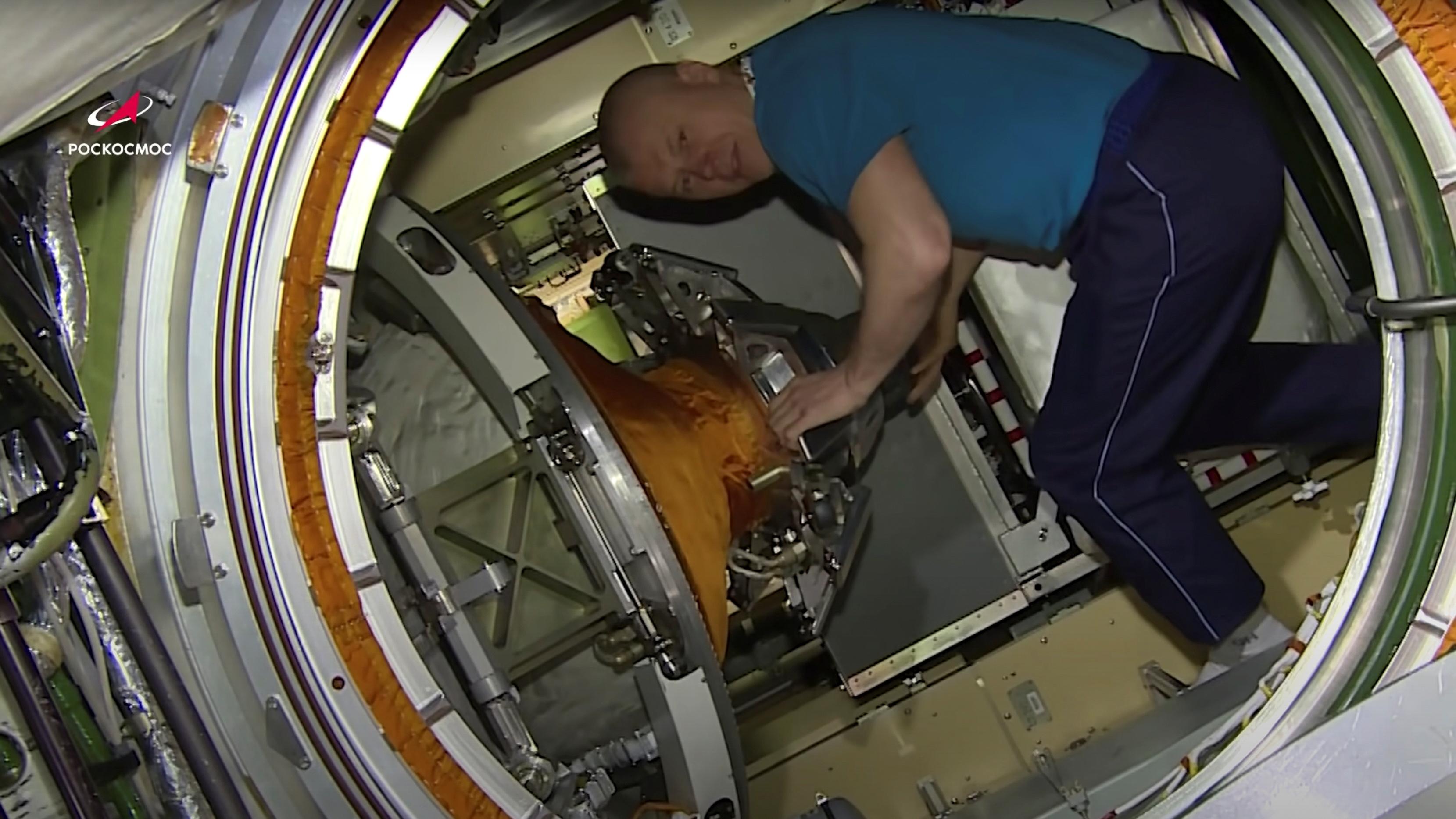 International Space Station (ISS) crew member, Roscosmos cosmonaut Oleg Novitskiy, is seen inside the Nauka (Science) Multipurpose Laboratory Module on July 31, 2021 in this still image taken from video. Image taken July 31, 2021. Roscosmos/Handout via REUTERS