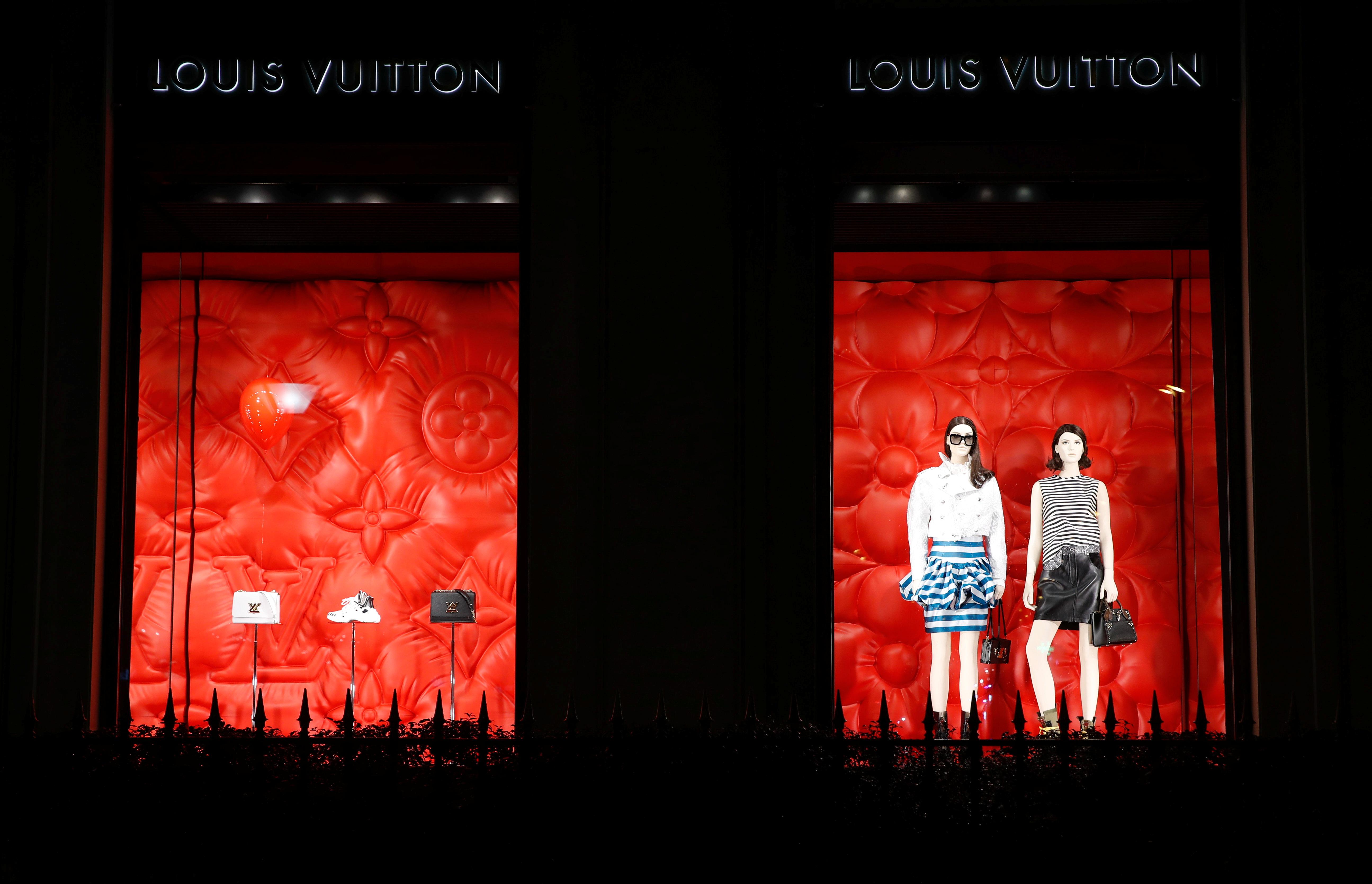 Louis Vuitton logo brad is seen outside a Louis Vuitton store in Paris, France, January 27, 2020. REUTERS/Gonzalo Fuentes/File photo