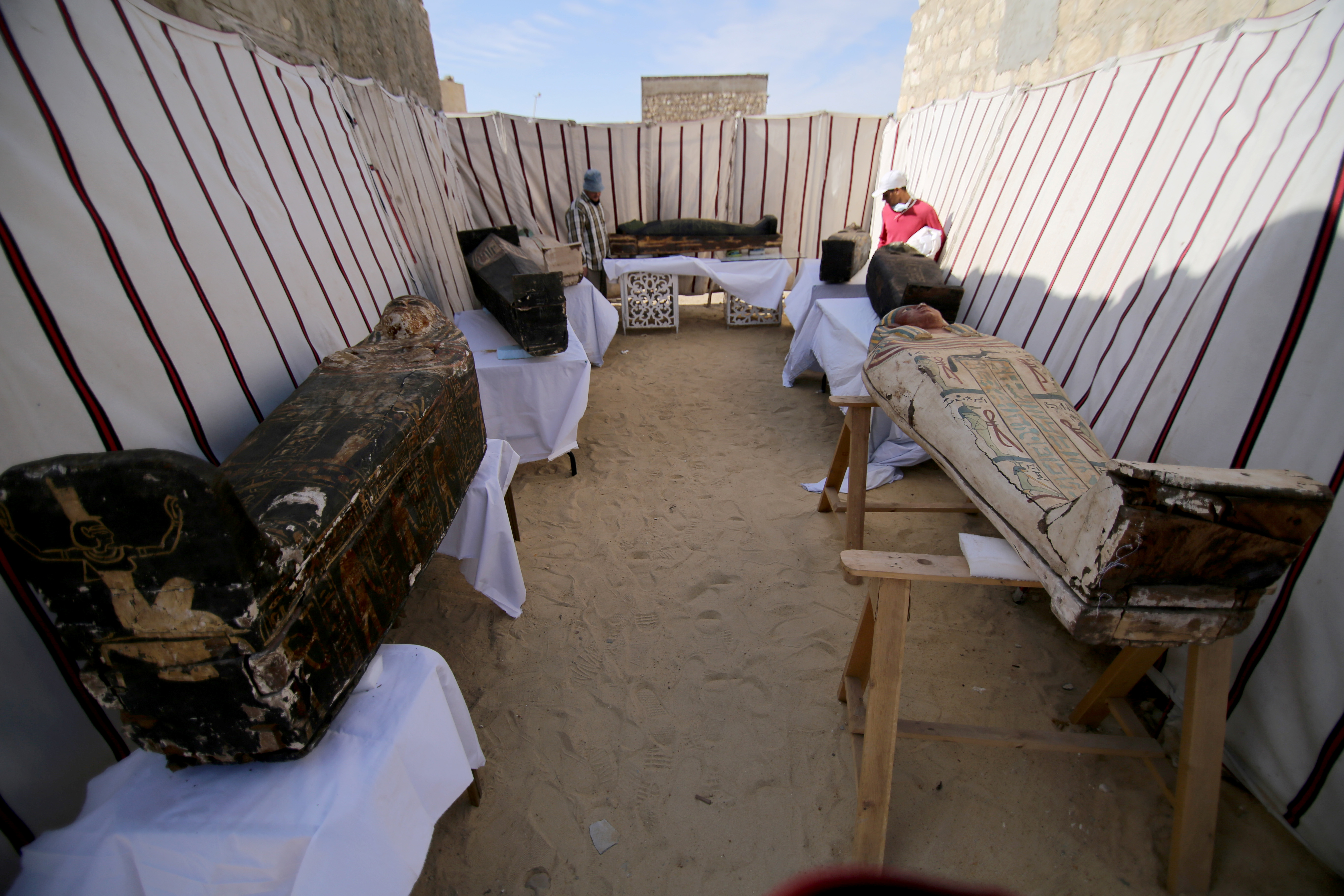 Coffins, part of a recent discovery from the Saqqara necropolis, are seen south of Cairo, Egypt January 17, 2021. REUTERS/Hanaa Habib
