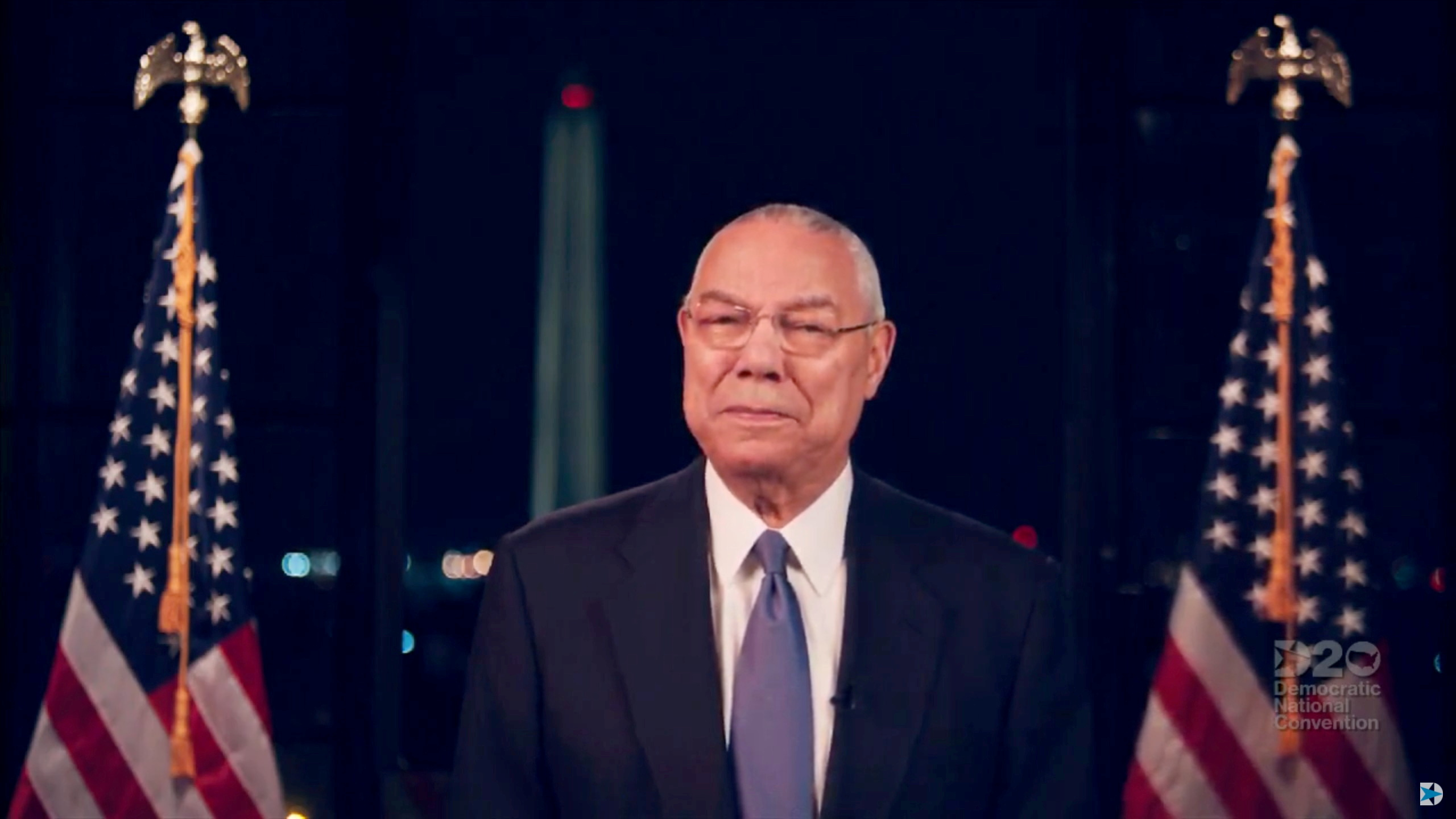 Former U.S. Secretary of State Colin Powell speaks by video feed during the virtual 2020 Democratic National Convention as participants from across the country are hosted over video links from the originally planned site of the convention in Milwaukee, Wisconsin, U.S. August 18, 2020. 2020 Democratic National Convention/Pool via REUTERS