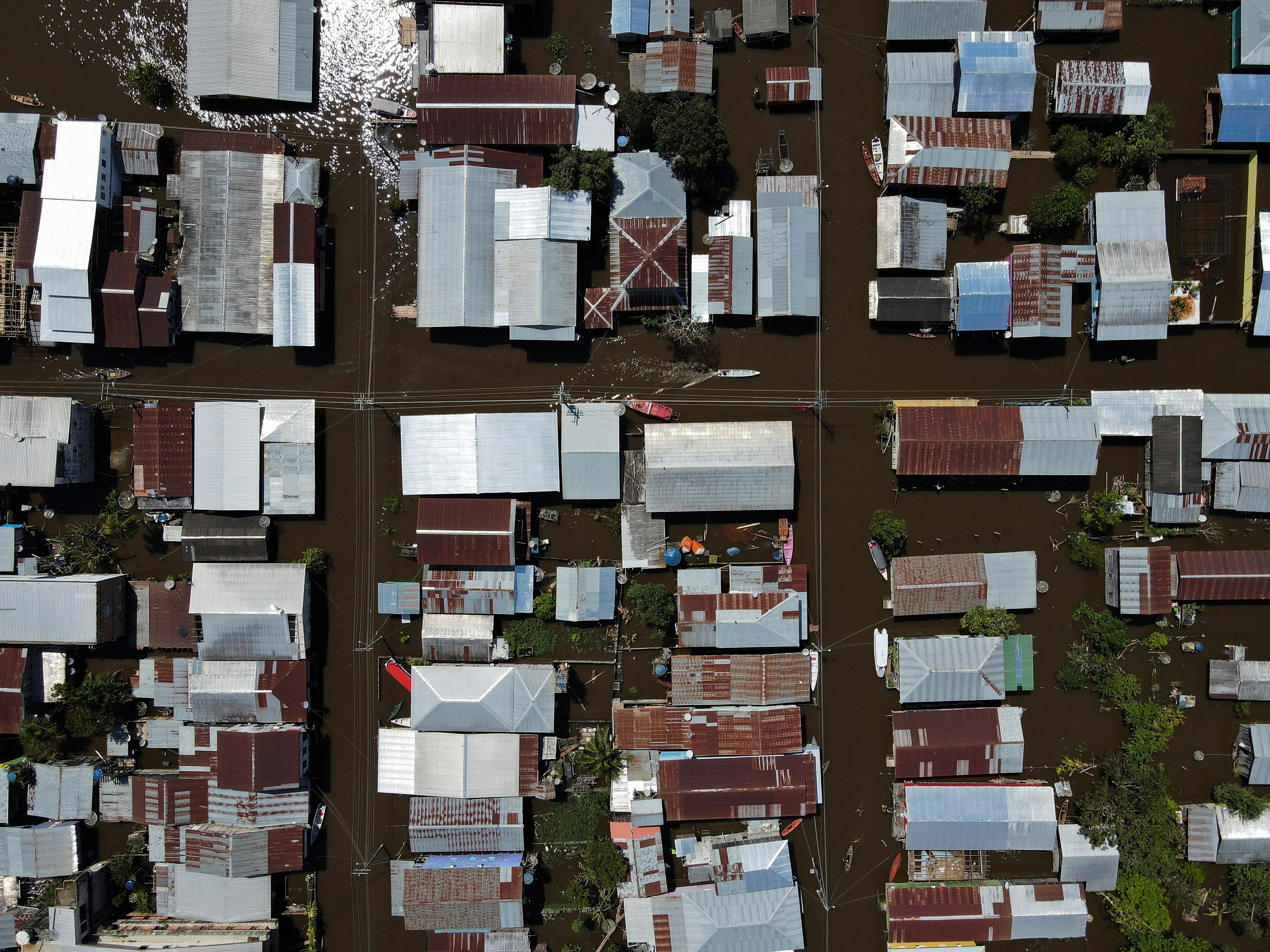 An aerial view of the town of Anama, flooded by water from the Solimoes river in Amazonas State, Brazil May 14, 2021. Picture taken May 14, 2021. Picture taken with a drone. REUTERS/Bruno Kelly
