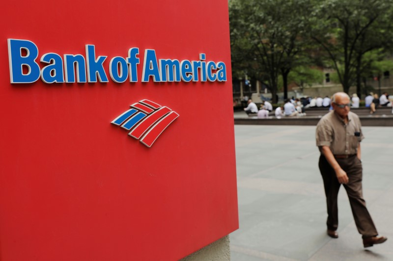 A man walks past a Bank of America sign in New York U.S., July 16, 2018. REUTERS/Lucas Jackson