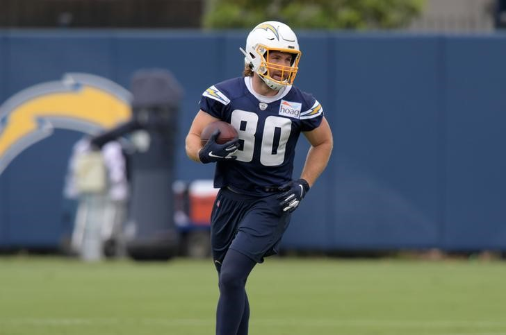 Jun 13, 2019; Costa Mesa, CA, USA: Tight end Sean Culkin, seen with his former team the Los Angeles Chargers, carries the ball during minicamp at the Hoag Performance Center in Costa Mesa, California, June 13, 2019. Mandatory Credit: Kirby Lee-USA TODAY Sports/File Photo