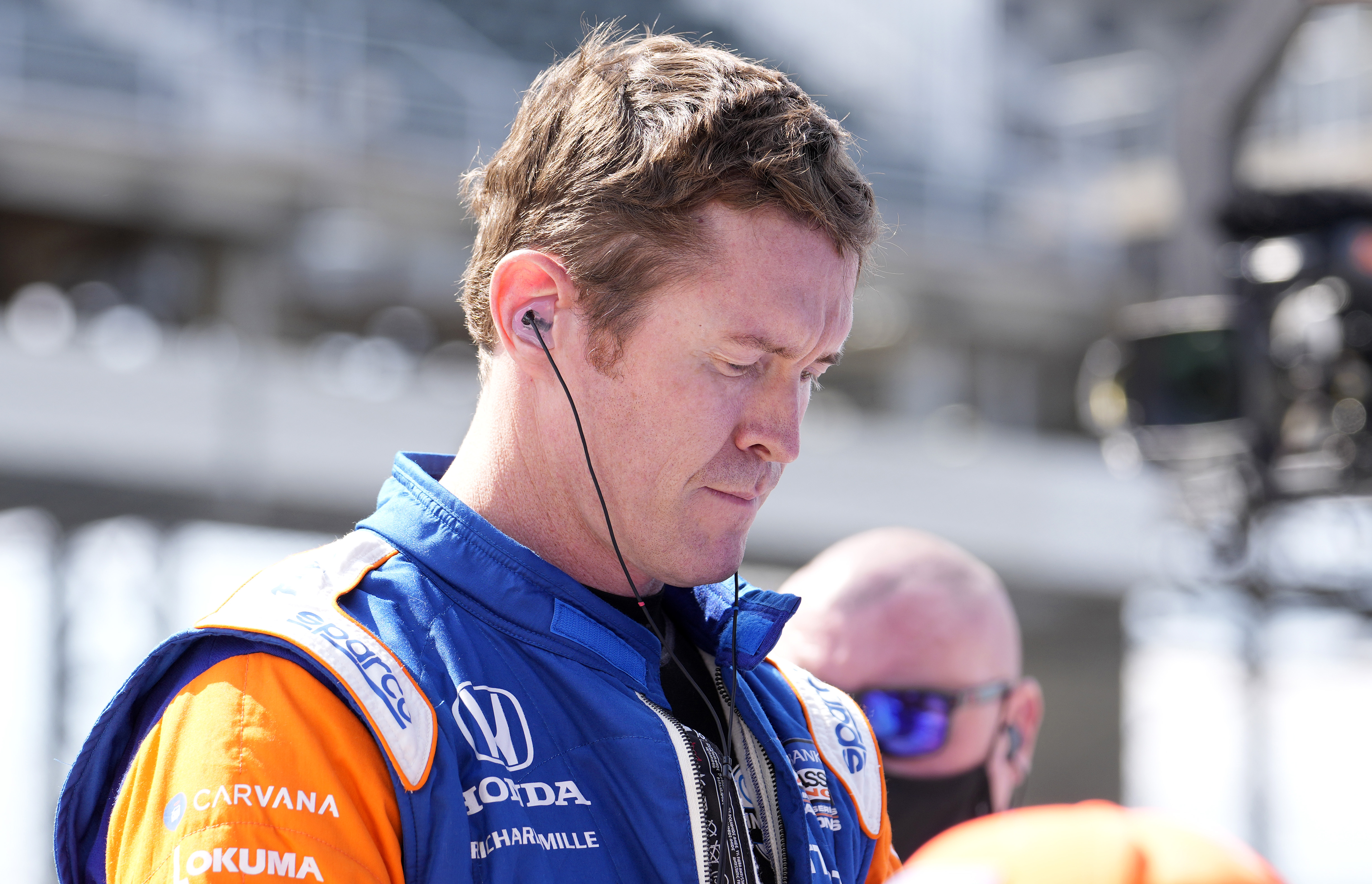 May 14, 2021; Indianapolis, IN, USA; Indy Series driver Scott Dixon (9) during qualifying for the GMR Grand Prix at the Indianapolis Motor Speedway. Mandatory Credit: Mike Dinovo-USA TODAY Sports