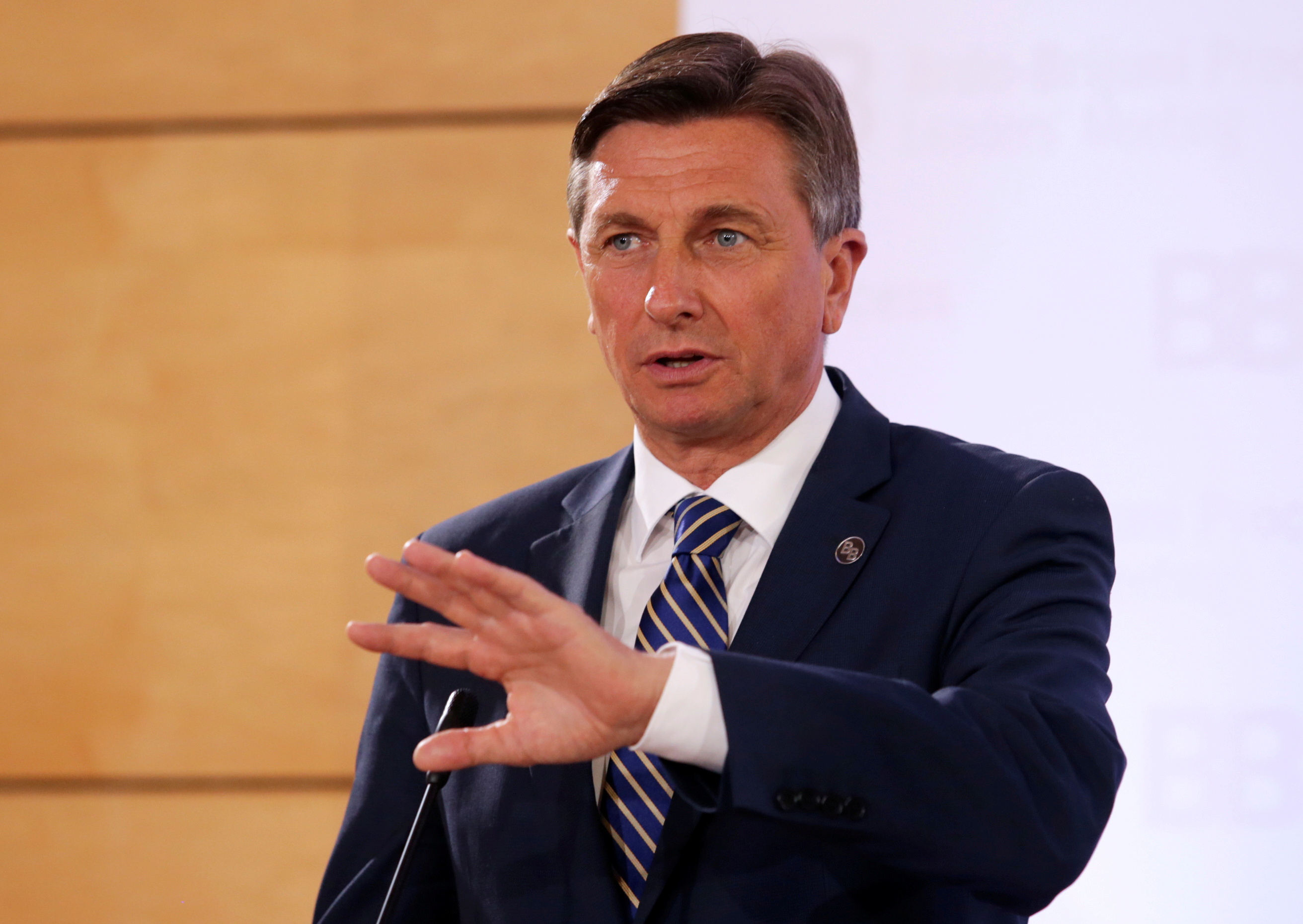 President of Slovenia Borut Pahor speaks during a news conference after the Brdo-Brijuni Process Leaders' Meeting in Tirana, Albania May 9, 2019. REUTERS/Florion Goga