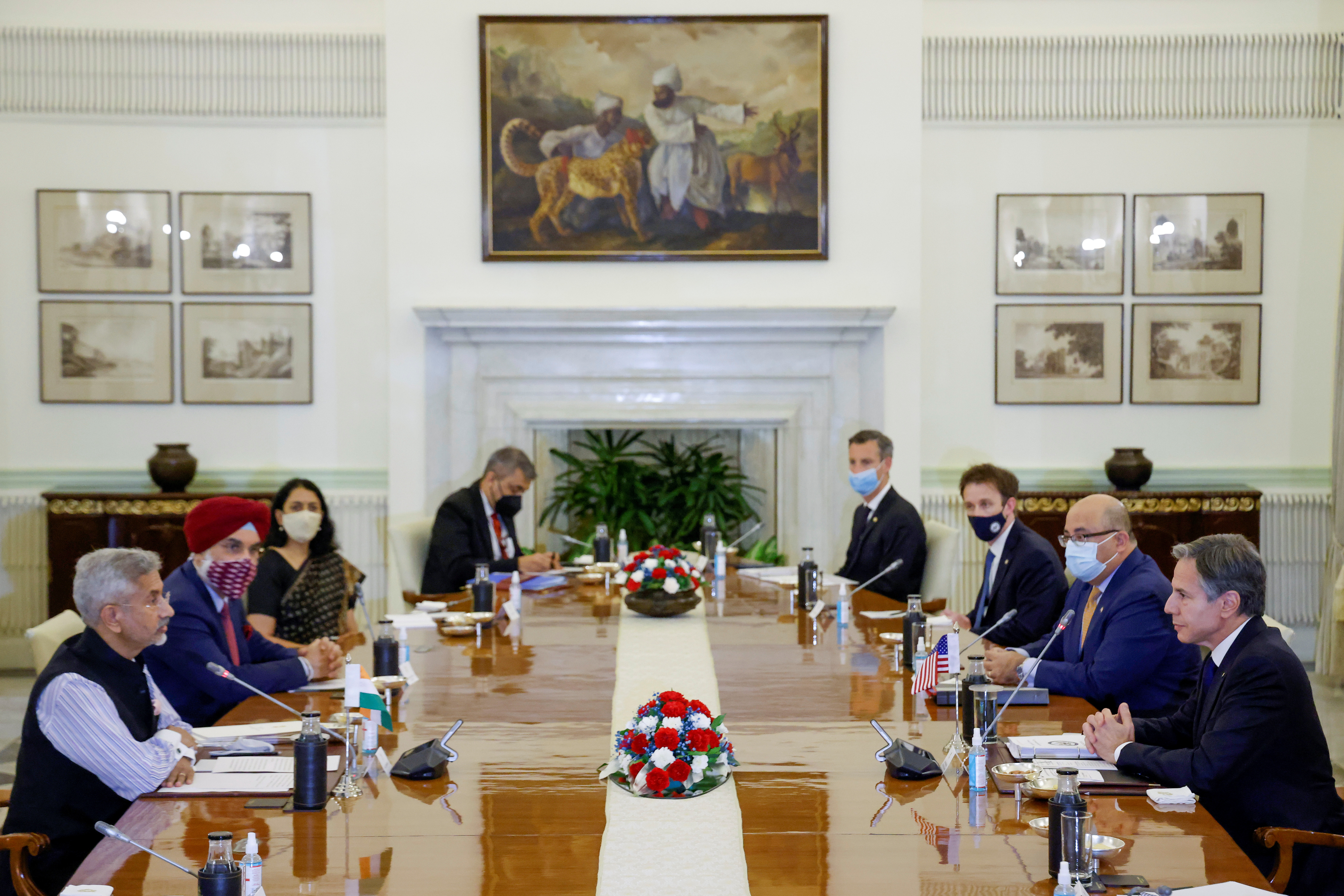 India'sMinisterofExternalAffairs Subrahmanyam Jaishankar and U.S. Secretary of State Antony Blinken deliver opening remarks as they sit down to meet at Hyderabad House in New Delhi, India July 28, 2021. REUTERS/Jonathan Ernst