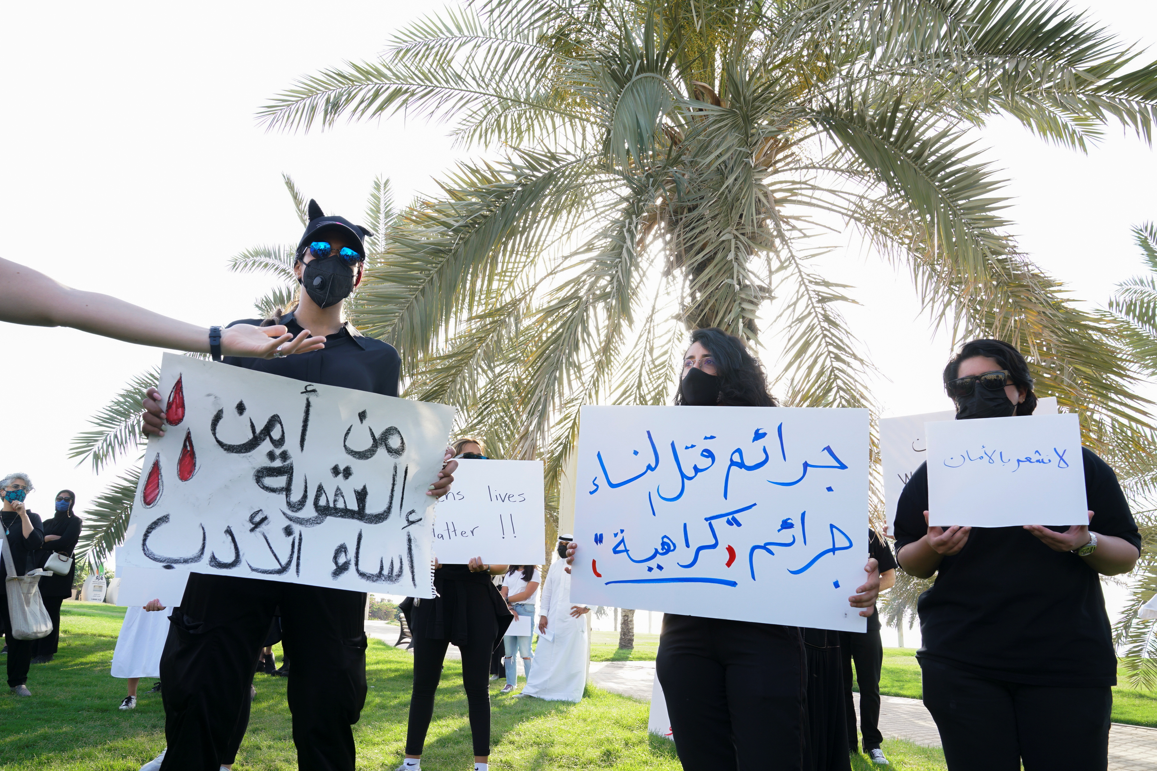 Kuwaitis gather to protest against violence against women in Kuwait City, Kuwait, April 22,2021. REUTERS/Stephanie McGehee