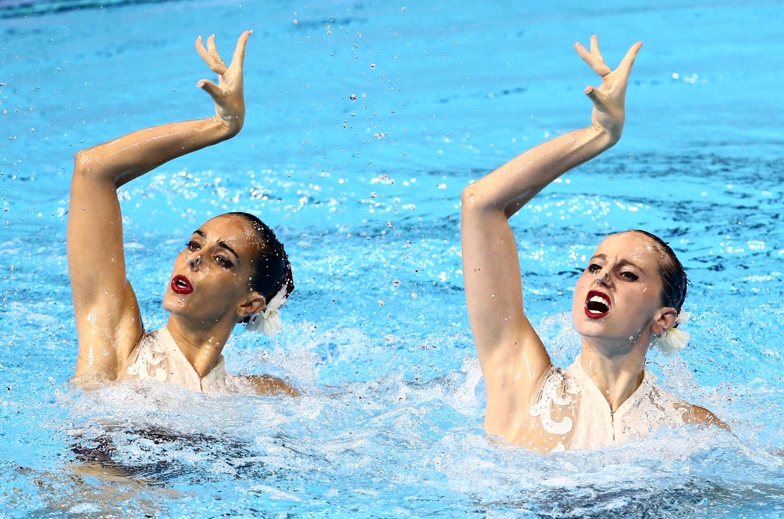 Swimming - 18th FINA World Swimming Championships - Women's Duet Free Final - Yeomju Gymnasium, Gwangju, South Korea - July 18, 2019.  Ona Carbonell and Paula Ramirez of Spain compete. REUTERS/Antonio Bronic/File Photo