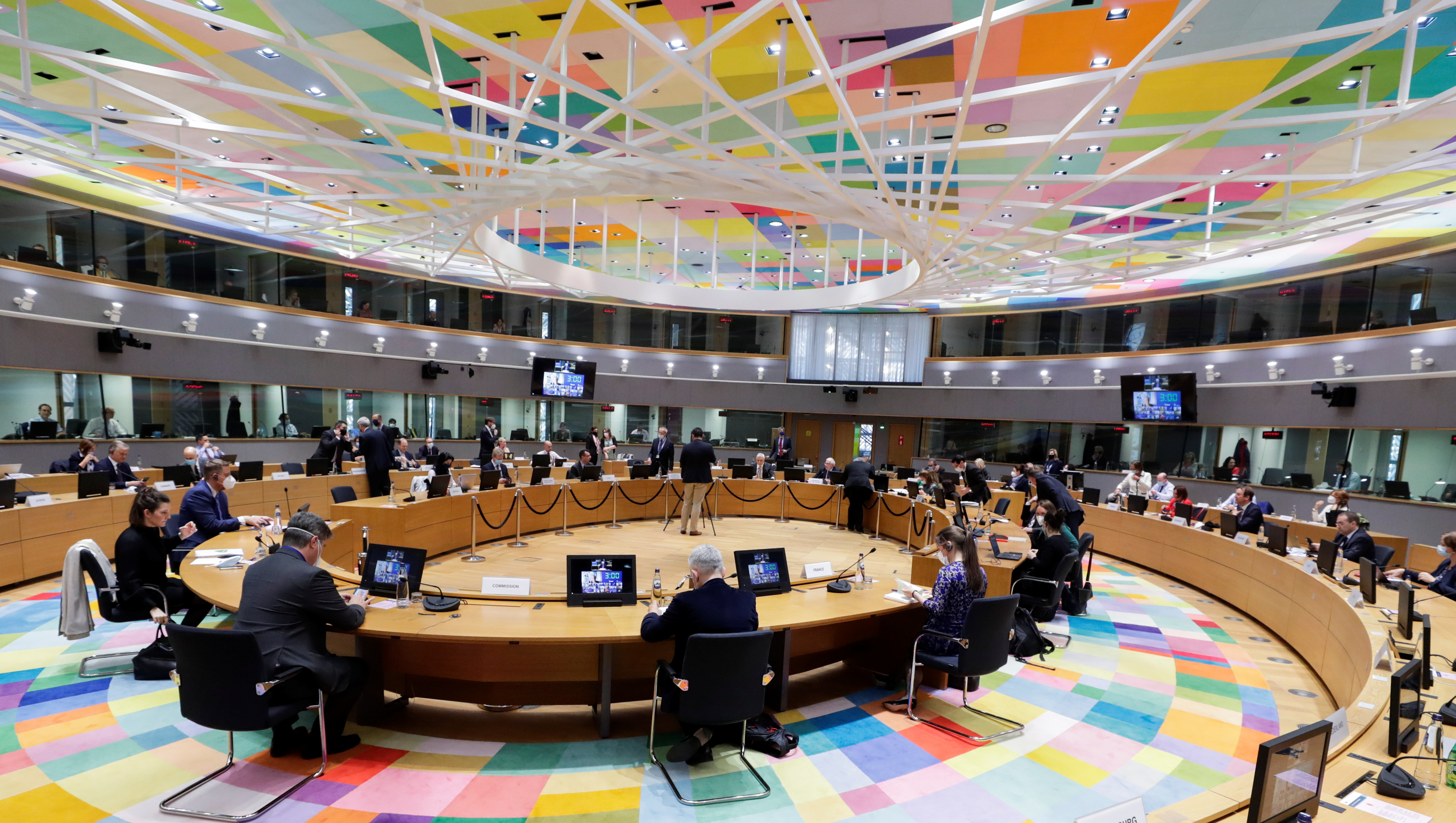 General view of European Union ambassadors with EU foreign policy chief Josep Borrell during  special video conference of EU foreign ministers to discuss recent developments in the Middle East, in particular the ongoing violent confrontation in Israel and the occupied Palestinian Territories, in Brussels, Belgium May 18, 2021. Olivier Hoslet/Pool via REUTERS
