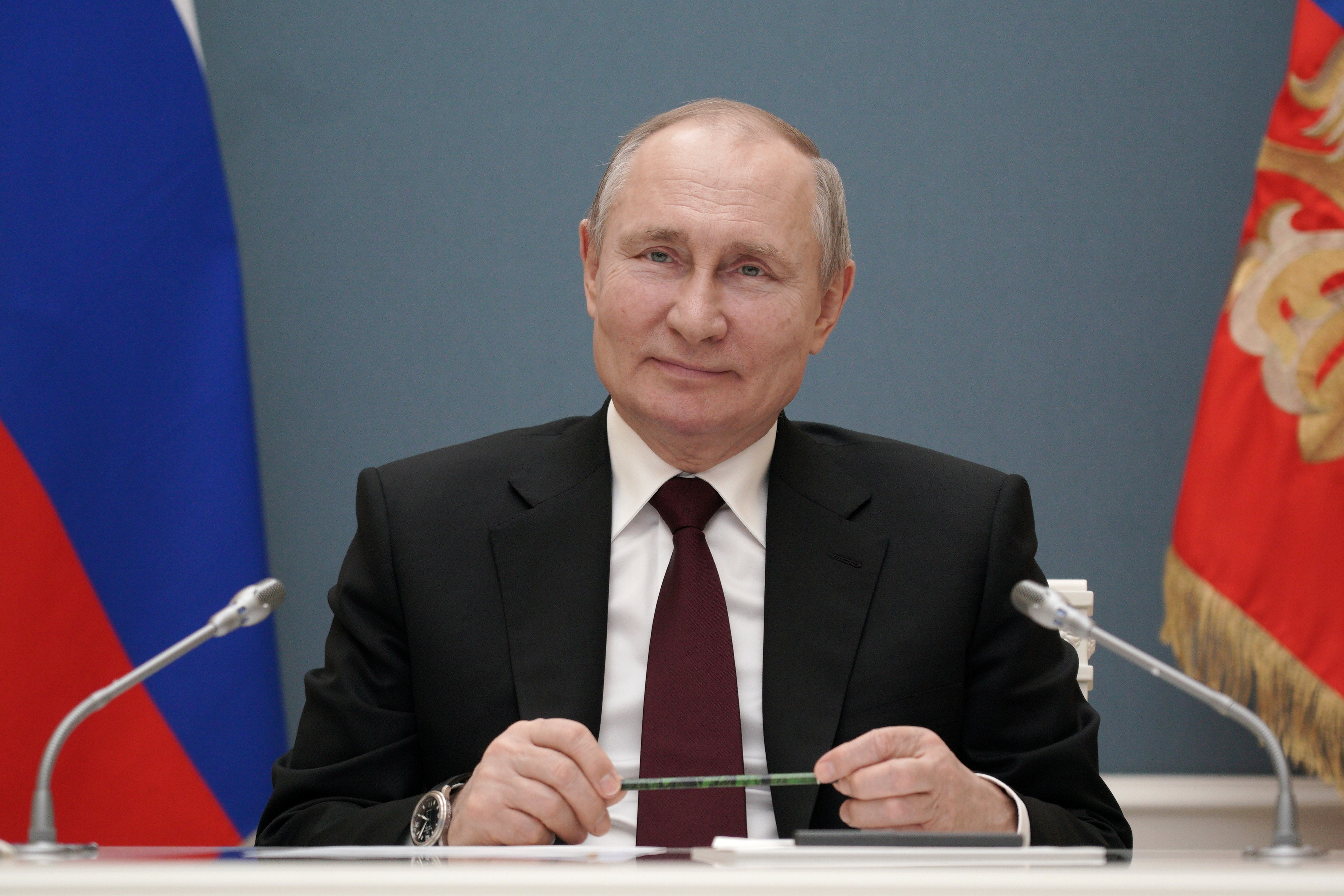 Russian President Vladimir Putin takes part in a ceremony launching the Talas Gold Mining Plant at Kyrgyzstan's Jerooy gold deposit via a video link in Moscow, Russia March 17, 2021. Sputnik/Alexei Druzhinin/Kremlin via REUTERS