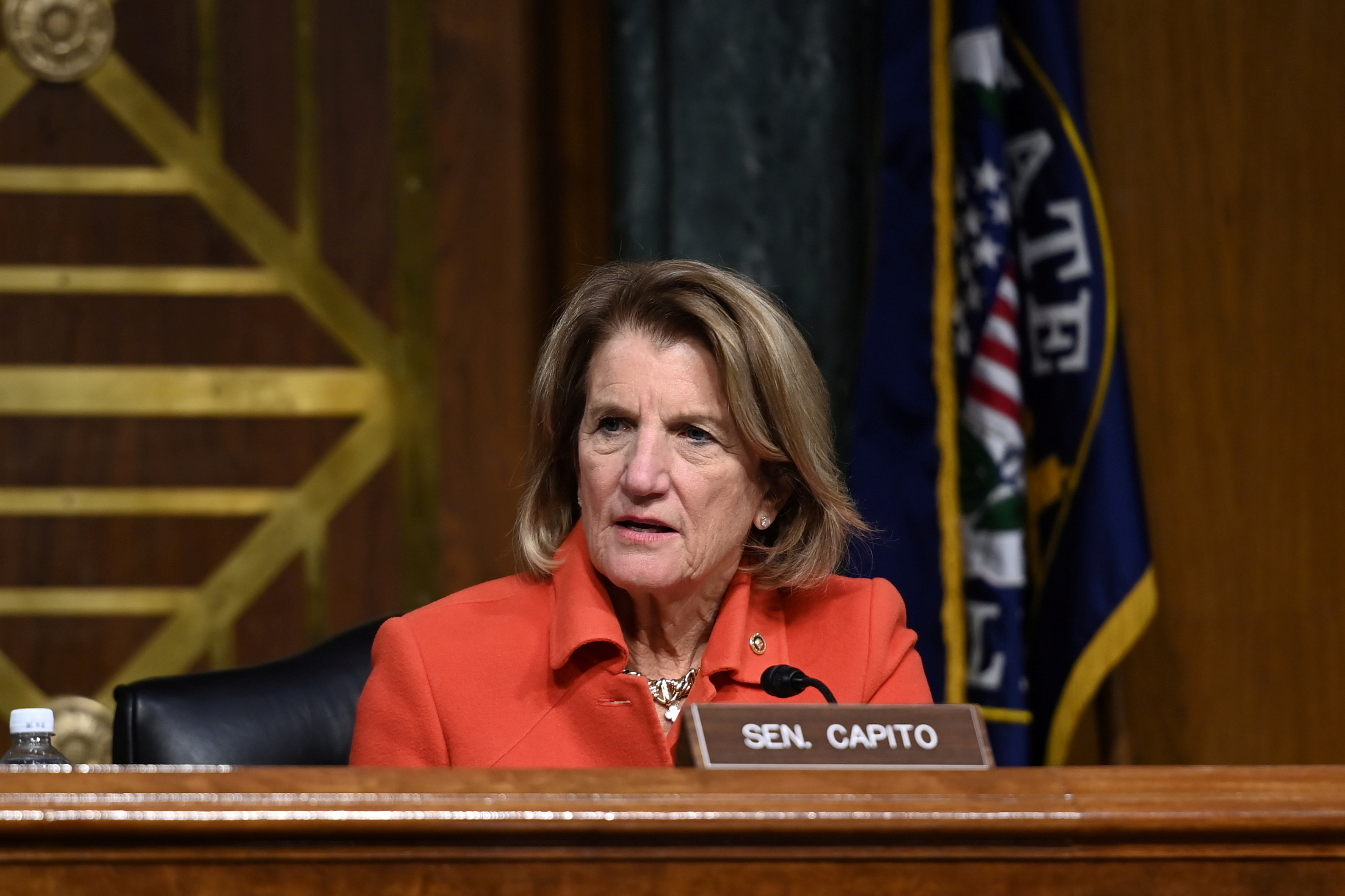 U.S. Senator Shelley Moore Capito (R-WV) listens during a Senate Environment and Public Works Committee hearing on Michael Regan's nomination to be Administrator of the Environmental Protection Agency (EPA) on Capitol Hill in Washington, U.S., February 3, 2021. REUTERS/Brandon Bell/Pool/File Photo