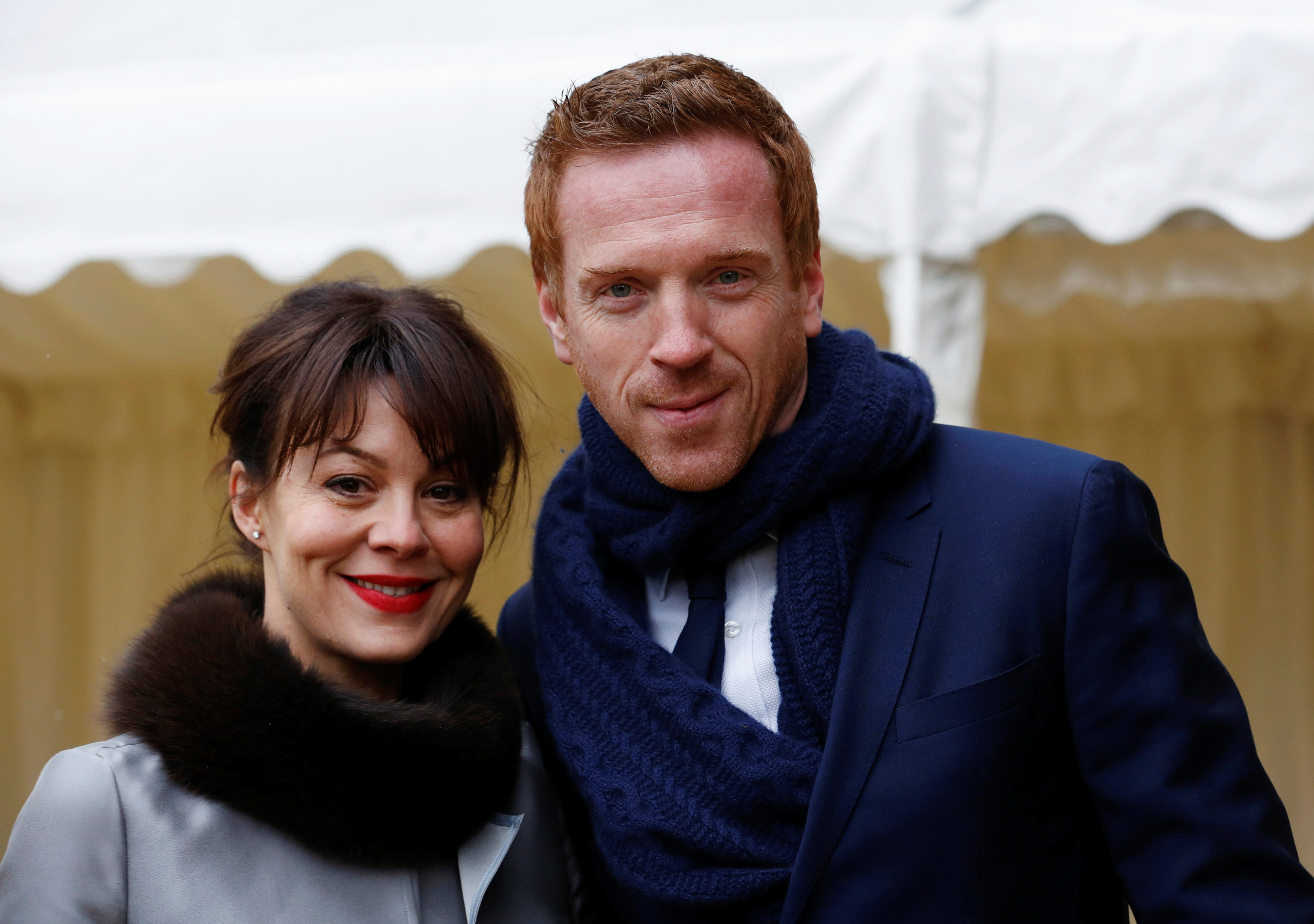 Actors Damian Lewis and Helen McCrory arrives for a reception for the British Film Industry held by Britain's Queen Elizabeth and Prince Philip at Windsor Castle southern England  April 4, 2013.  REUTERS/Luke MacGregor