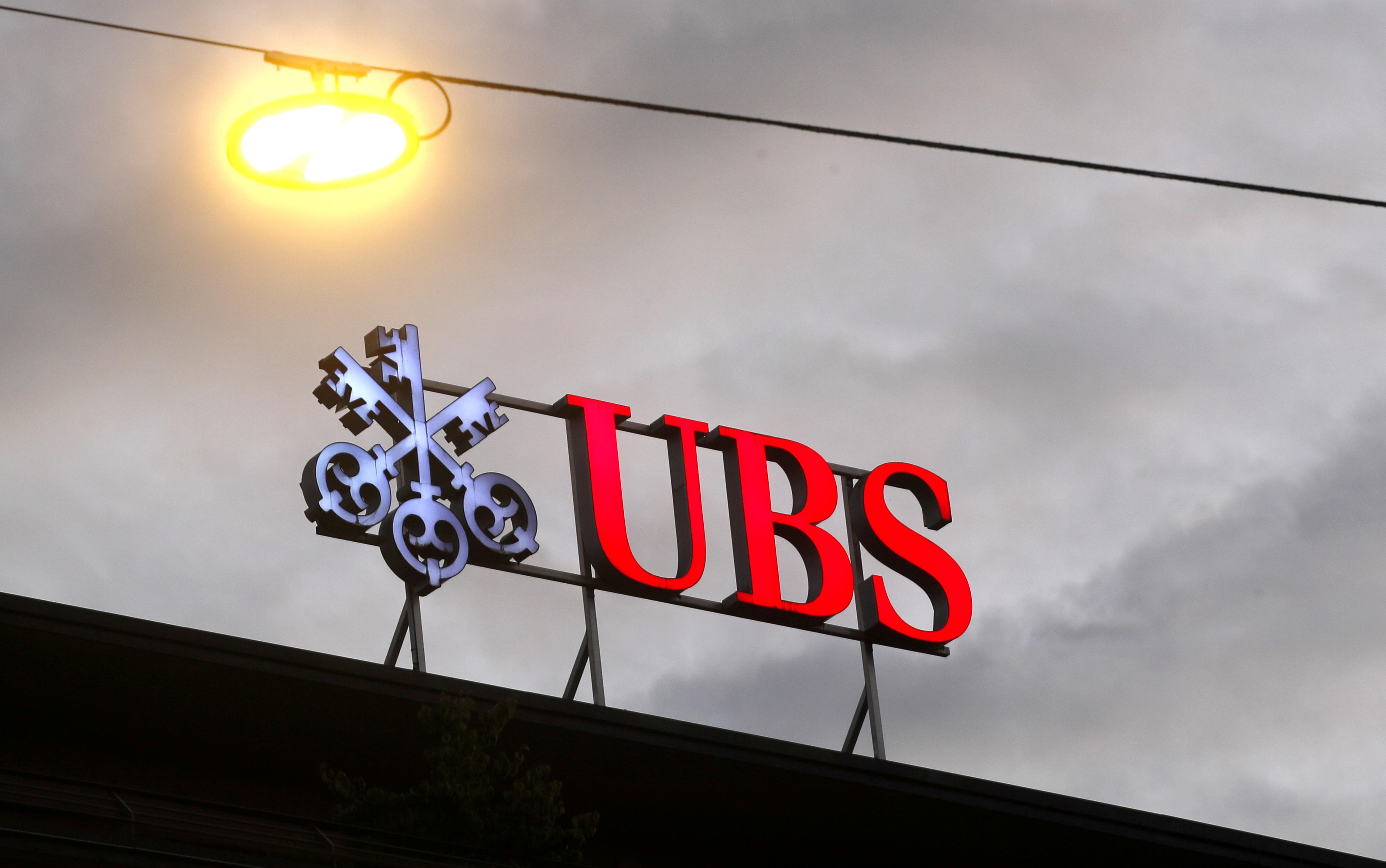 The logo of Swiss bank UBS is seen at a branch office in Zurich, Switzerland June 22, 2020. REUTERS/Arnd Wiegmann