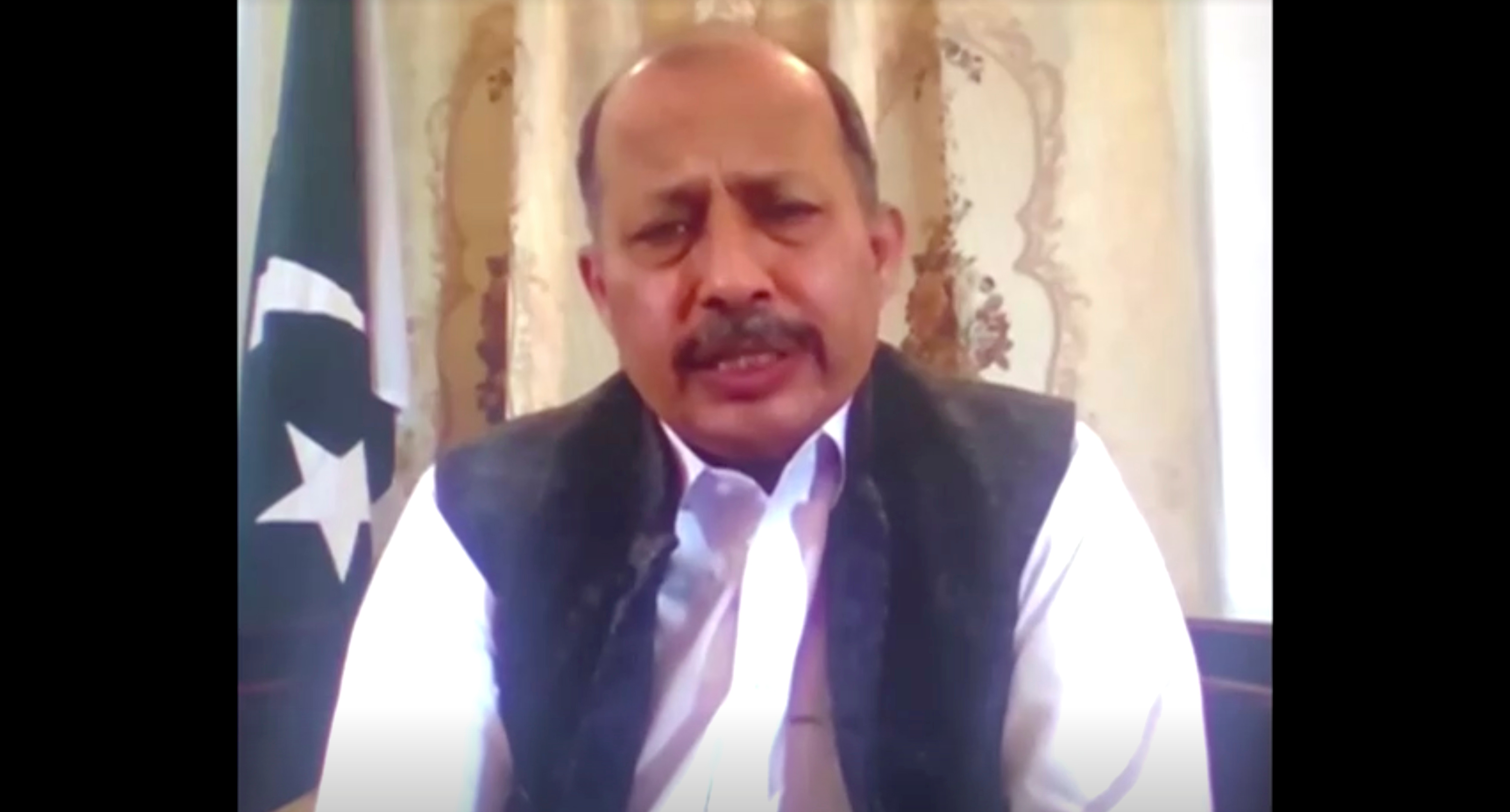 Pakistan's Ambassador to Afghanistan, Mansoor Ahmad Khan, speaks during a discussion, in this screen grab taken from a video, in Kabul, Afghanistan September 27, 2021. REUTERS TV via REUTERS