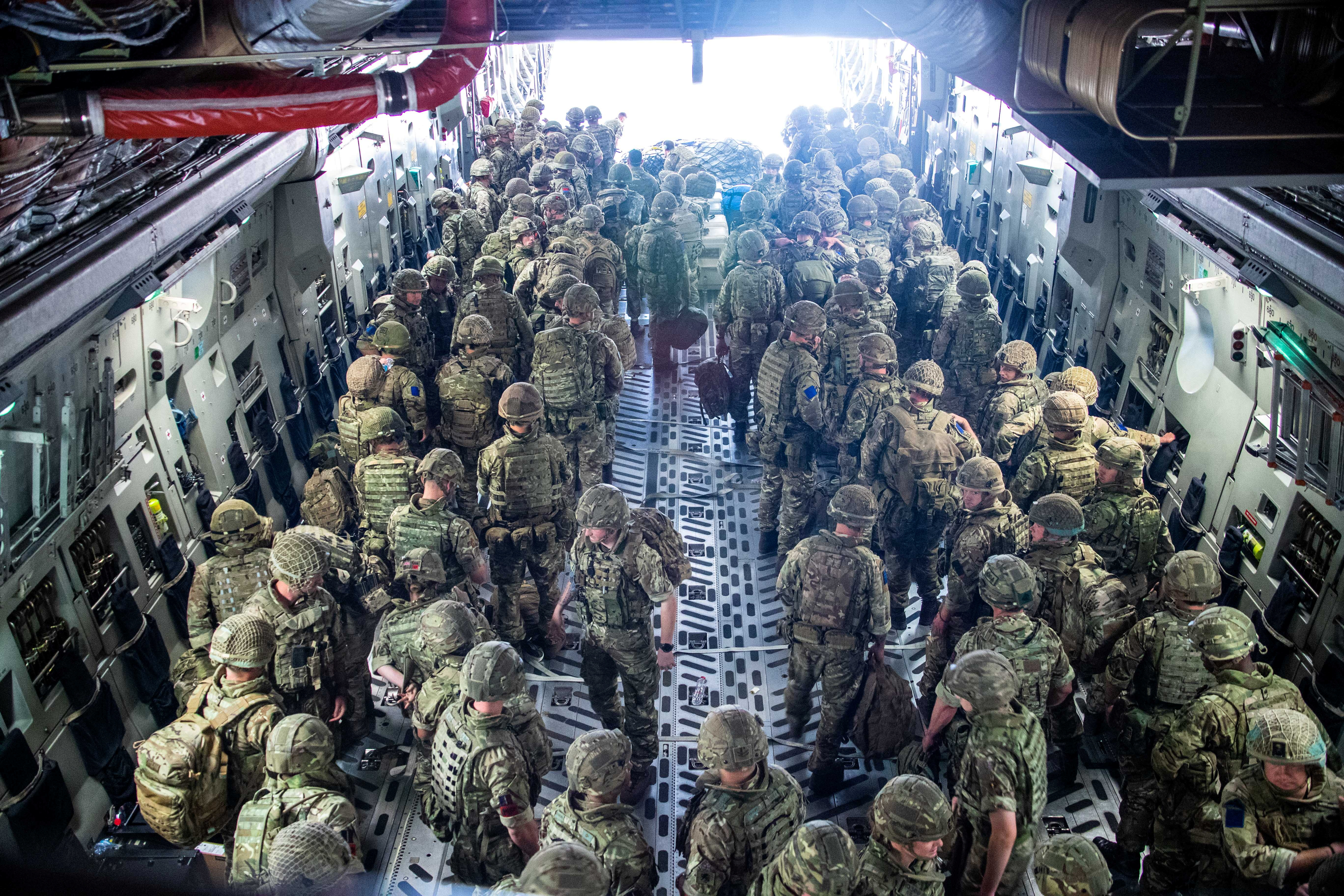 British Forces from 16 Air Assault Brigade arrive in Kabul, Afghanistan, to provide support to British nationals leaving the country, as part of Operation PITTING after Taliban insurgents took control of the presidential palace in Kabul, August 15, 2021. Leading Hand Ben Shread/RAF/UK Ministry of Defence 2021/Handout via REUTERS