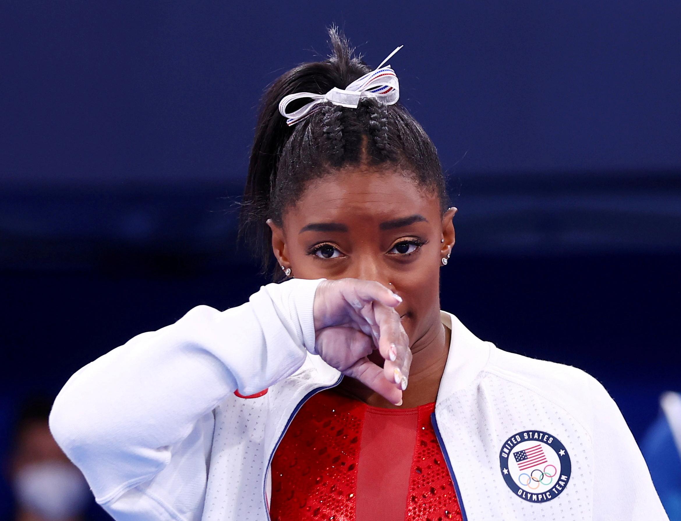 Tokyo 2020 Olympics - Gymnastics - Artistic - Women's Team - Final - Ariake Gymnastics Centre, Tokyo, Japan - July 27, 2021. Simone Biles of the United States during the Women's Team Final REUTERS/Mike Blake/File Photo