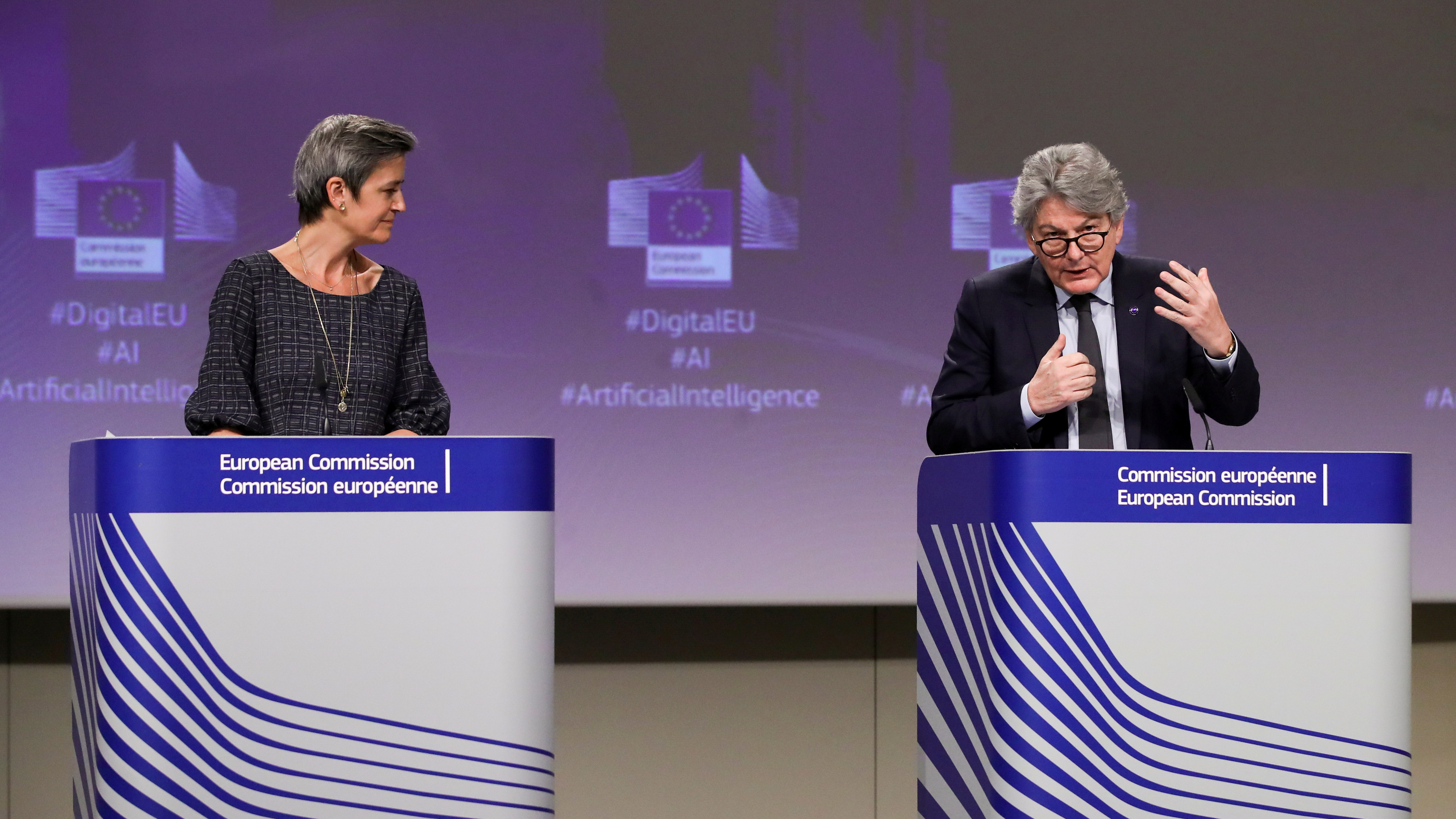 European Executive Vice-President Margrethe Vestager and European Internal Market Commissioner Thierry Breton give a media conference on the EU approach to Artificial Intelligence  following weekly meeting of EU Commission in Brussels, Belgium, April 21, 2021. Olivier Hoslet/Pool via REUTERS