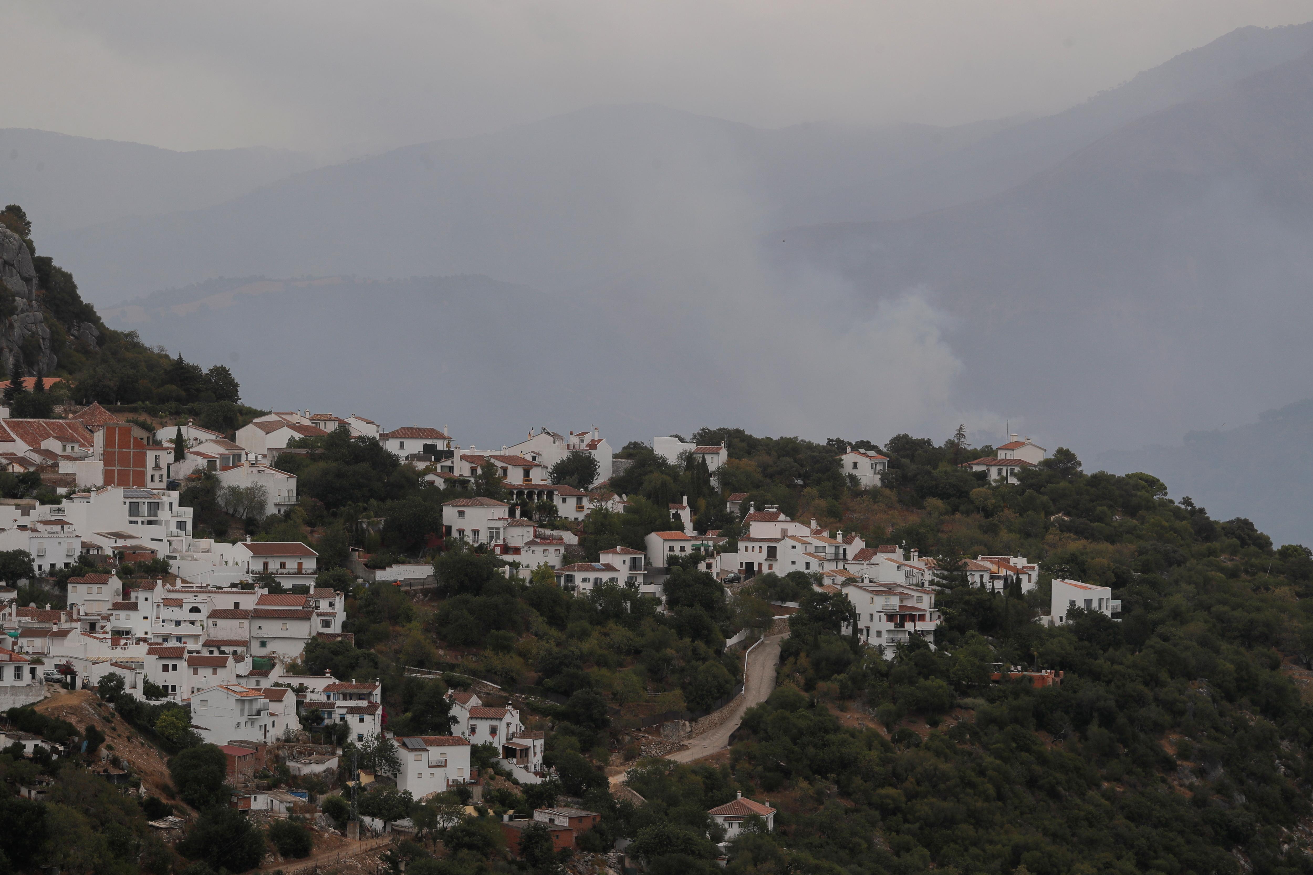 A wildfire is seen on Sierra Bermeja mountain from Gaucin, near Estepona, Spain, September 13, 2021. REUTERS/Jon Nazca
