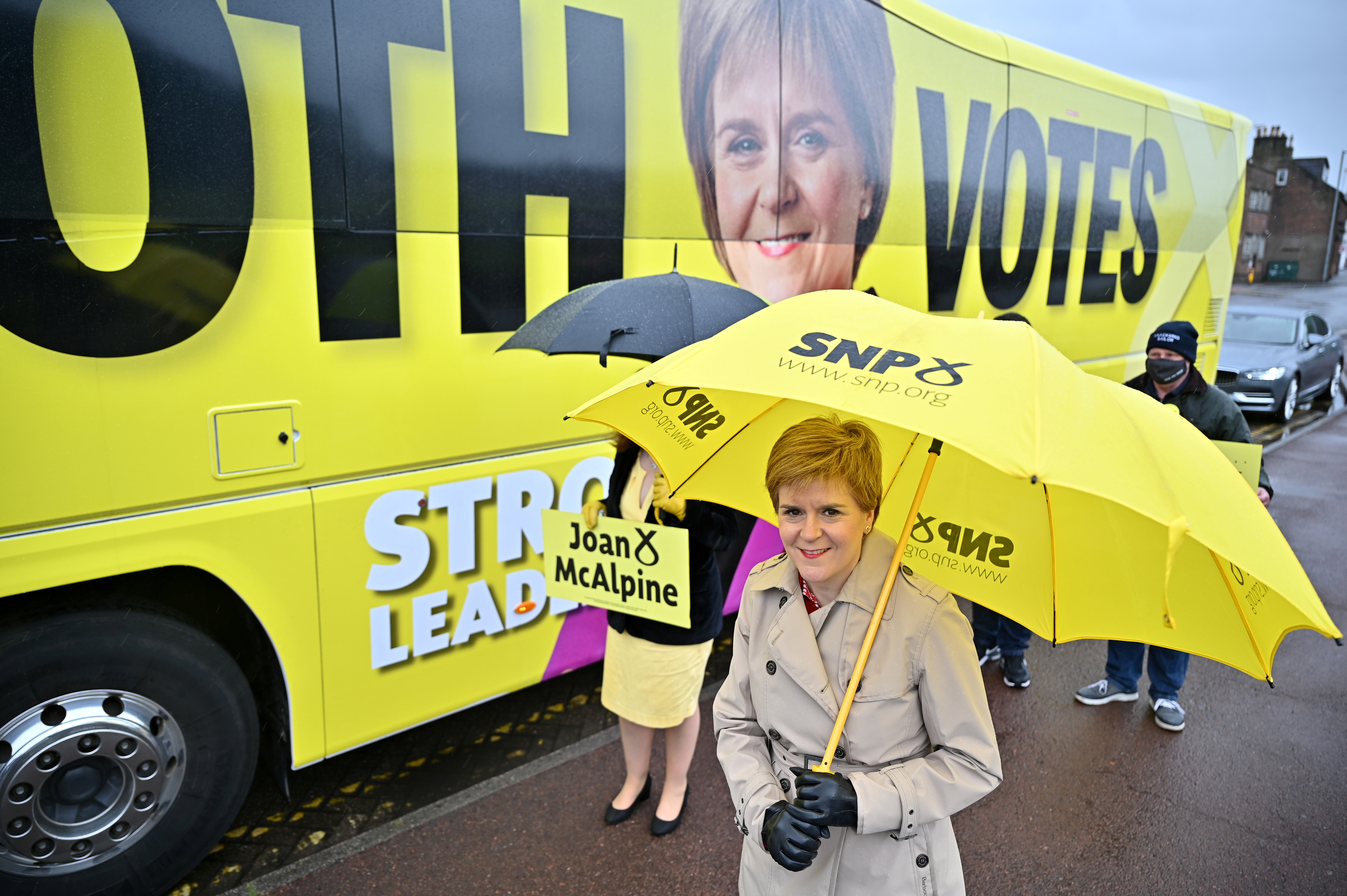 Scotland's First Minister Nicola Sturgeon campaigns in Midsteeple Quarter for the Scottish Parliament election, in Dumfries, Scotland, Britain May 3, 2021.  Jeff J Mitchell/Pool via REUTERS