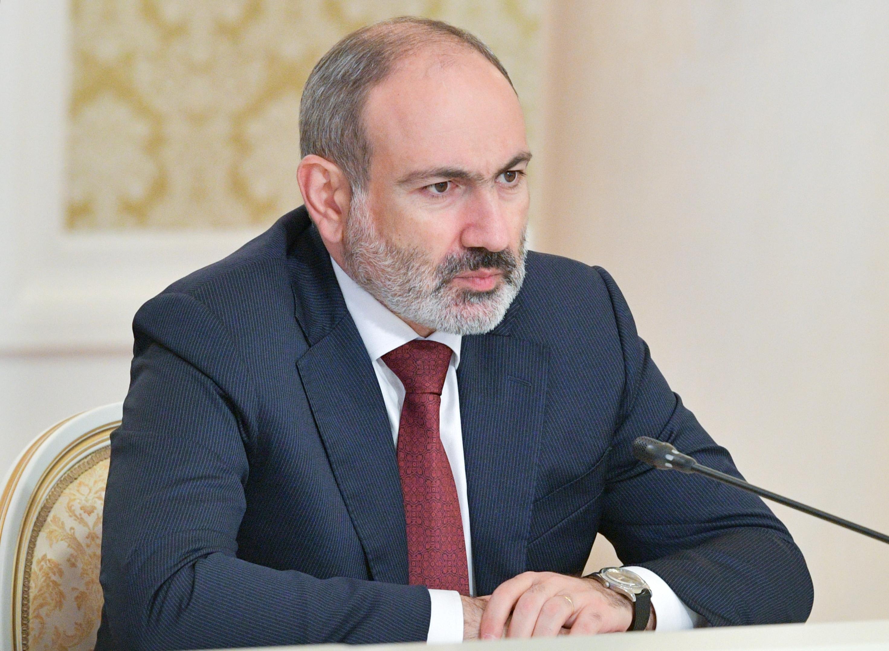 Armenia's acting Prime Minister Nikol Pashinyan attends a meeting in Kazan, Russia April 29, 2021. Sputnik/Alexander Astafyev/Pool via REUTERS