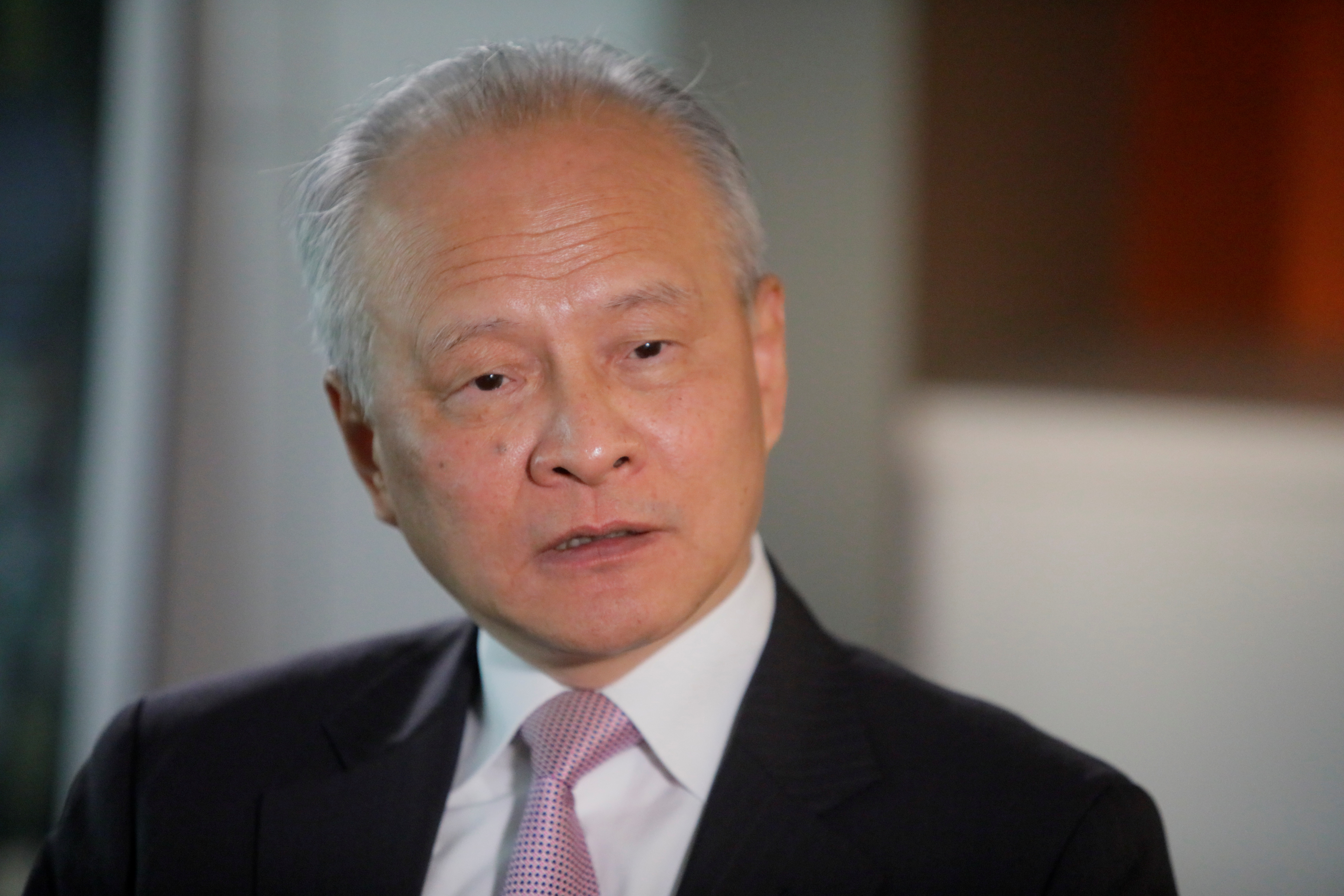 China's ambassador to the United States Cui Tiankai responds to reporters questions during an interview with Reuters in Washington, U.S., November 6, 2018. REUTERS/Jim Bourg