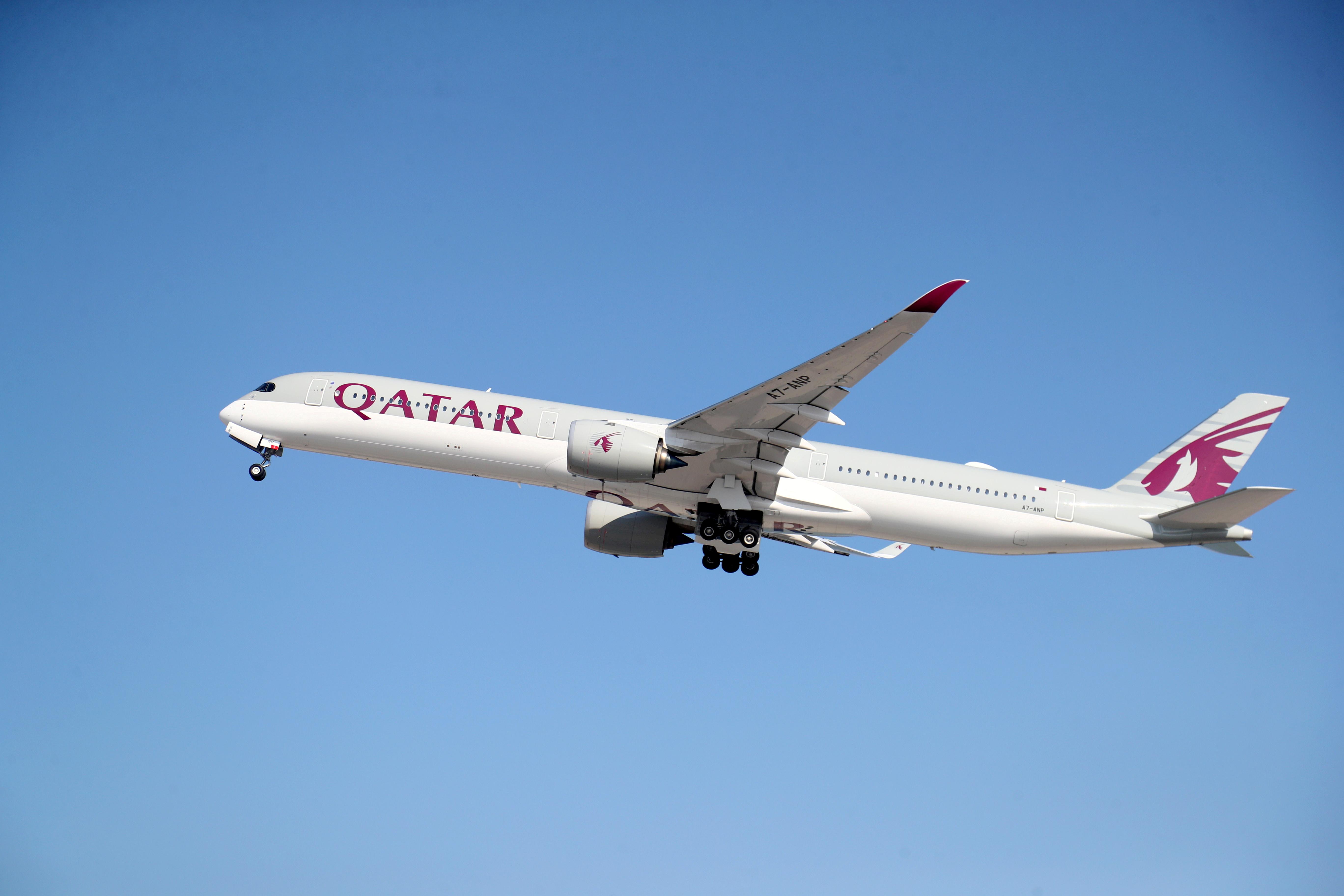 A Qatar Airways plane takes off at Hamad International Airport, as the country resumes international flights to Saudi Arabia, in Doha, Qatar January 11, 2021. REUTERS/Ibraheem Al Omari