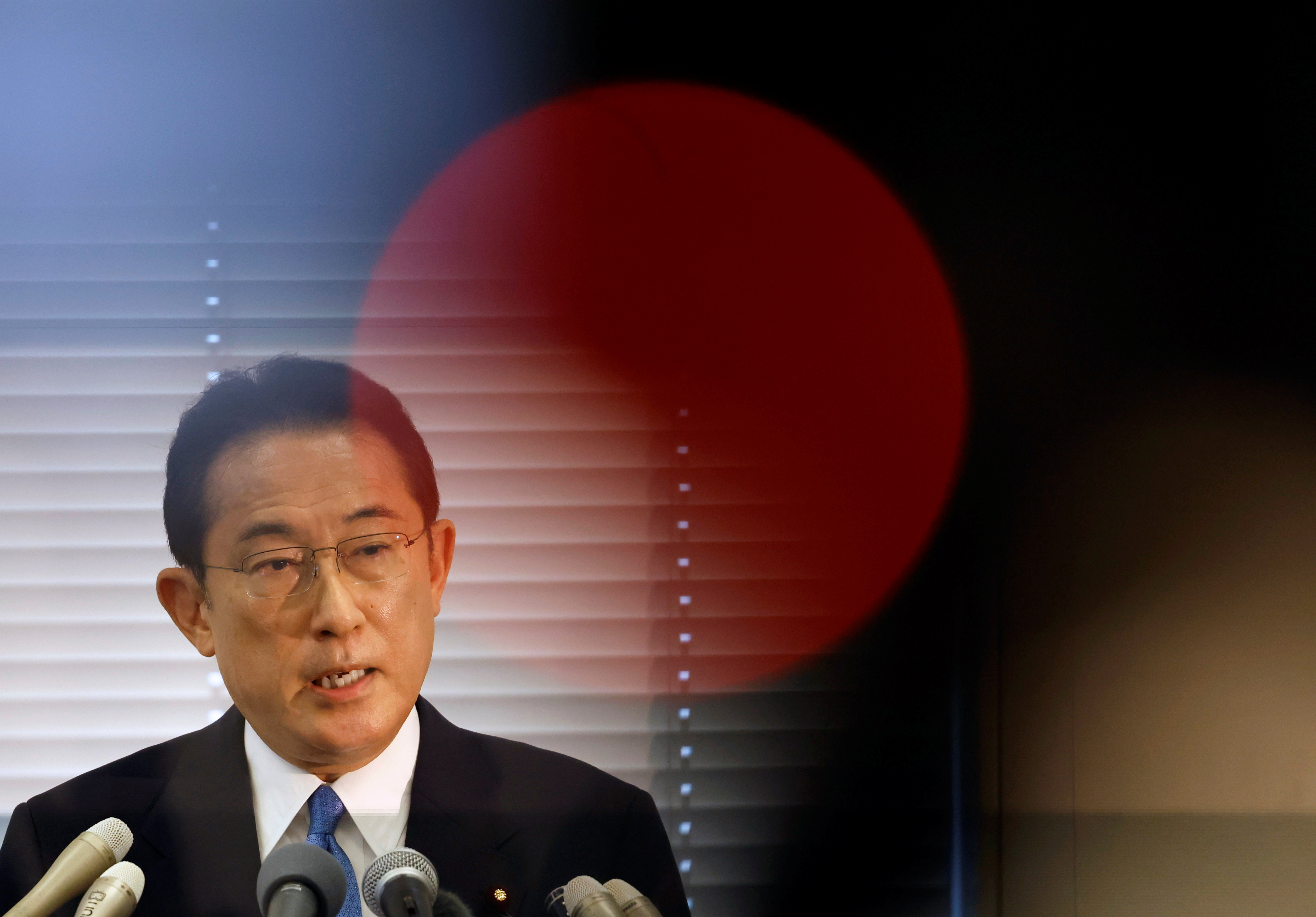 Fumio Kishida, Japan's ruling Liberal Democratic Party (LDP) lawmaker and former foreign minister, announces his candidacy for the party's presidential election at a news conference in Tokyo, Japan, August 26, 2021.  REUTERS/Issei Kato