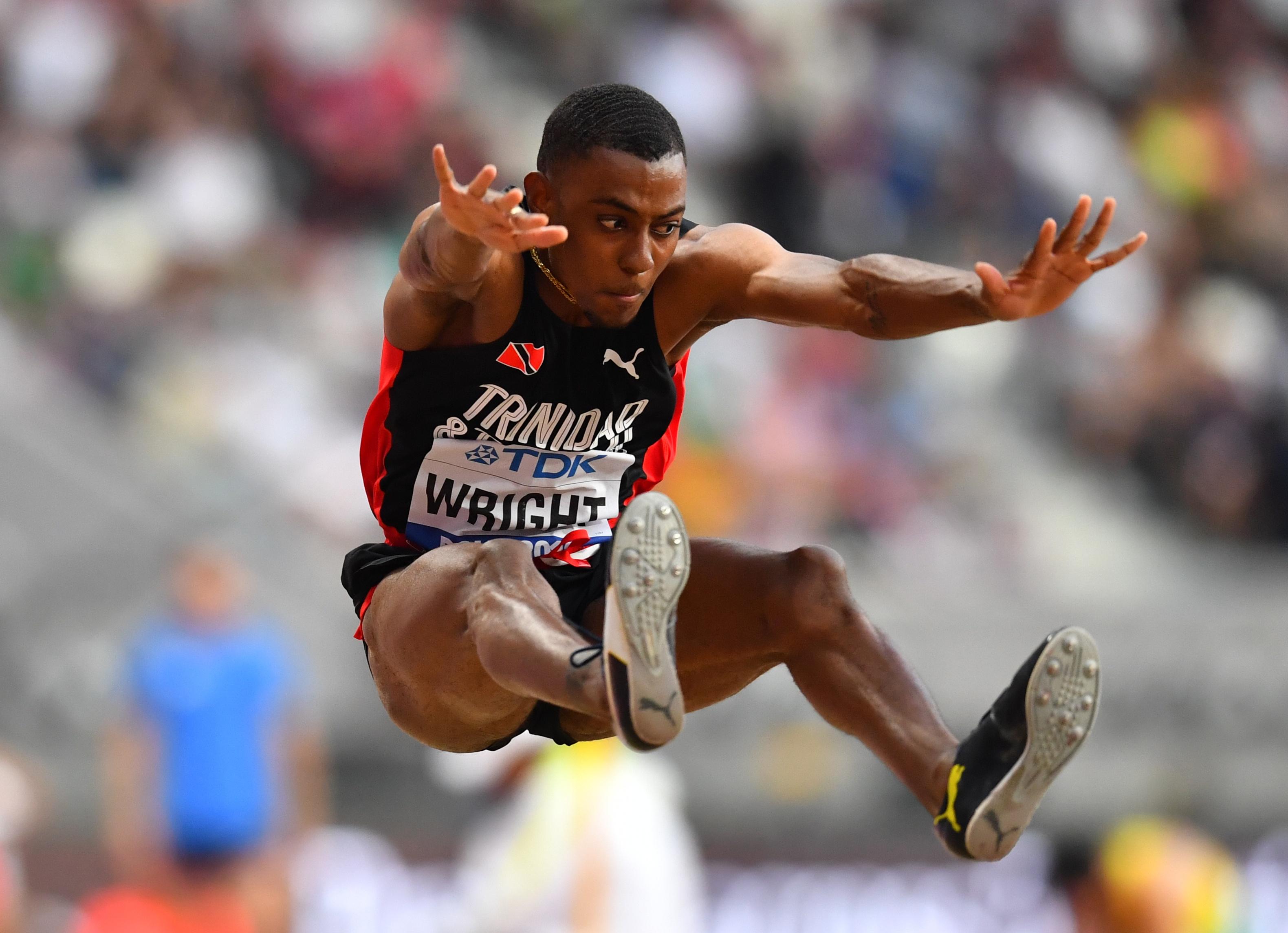 Athletics - World Athletics Championships - Doha 2019 - Men's Long Jump Qualification - Khalifa International Stadium, Doha, Qatar - September 27, 2019  Trinidad and Tobago's Andwuelle Wright in action REUTERS/Dylan Martinez