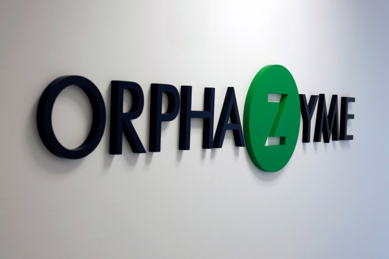 The Orphazyme logo is seen at the company's headquarters in Copenhagen, Denmark June 18, 2021. REUTERS/Nikolaj Skydsgaard