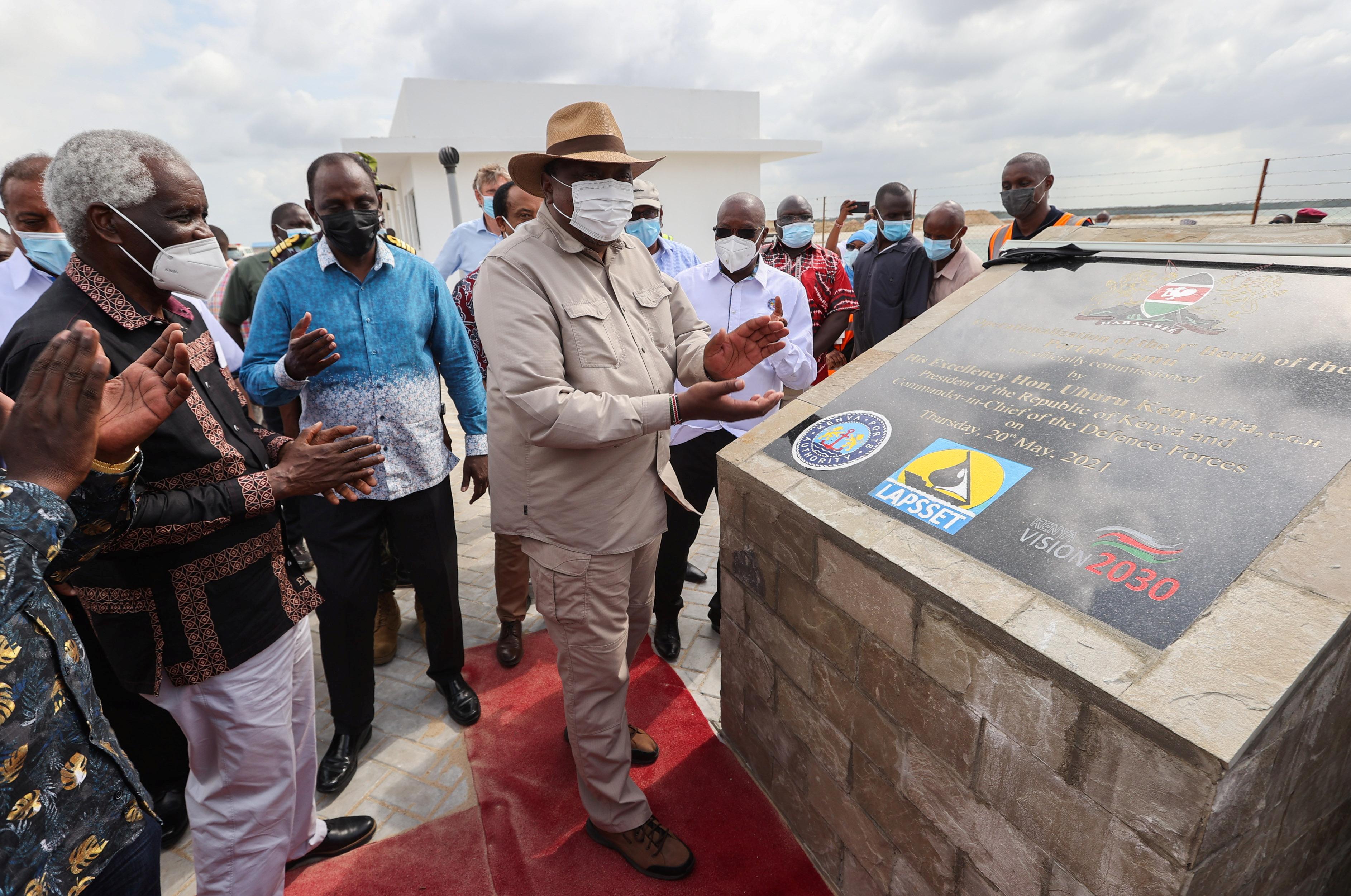 Kenya's President Uhuru Kenyatta unveils the first berth of Chinese funded Lamu Port in Lamu, Kenya May 20, 2021. Presidential Press Service/Handout via REUTERS