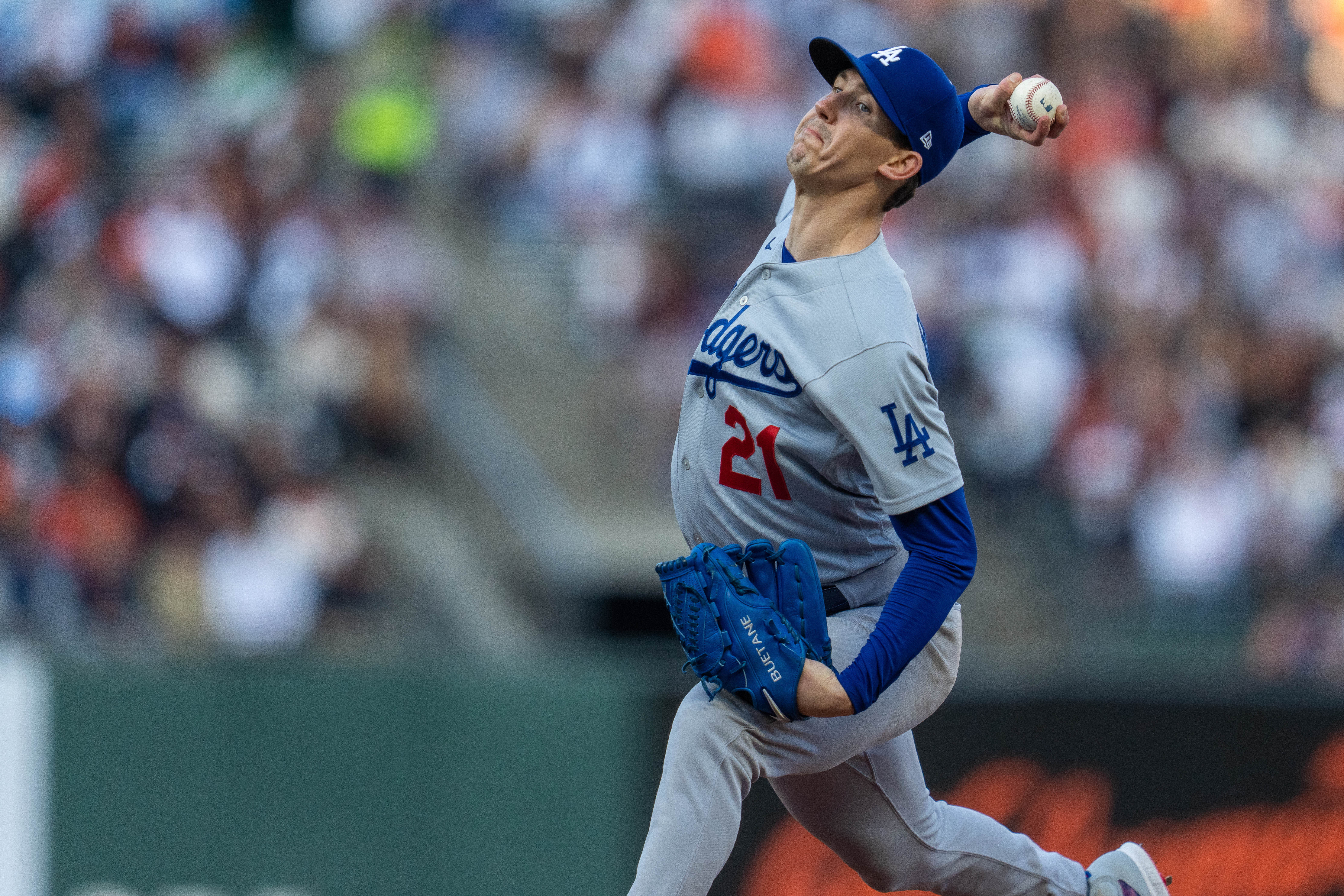 Jul 28, 2021; San Francisco, California, USA;  Los Angeles Dodgers starting pitcher Walker Buehler (21) delivers a pitch during the first inning against the San Francisco Giants at Oracle Park. Mandatory Credit: Neville E. Guard-USA TODAY Sports