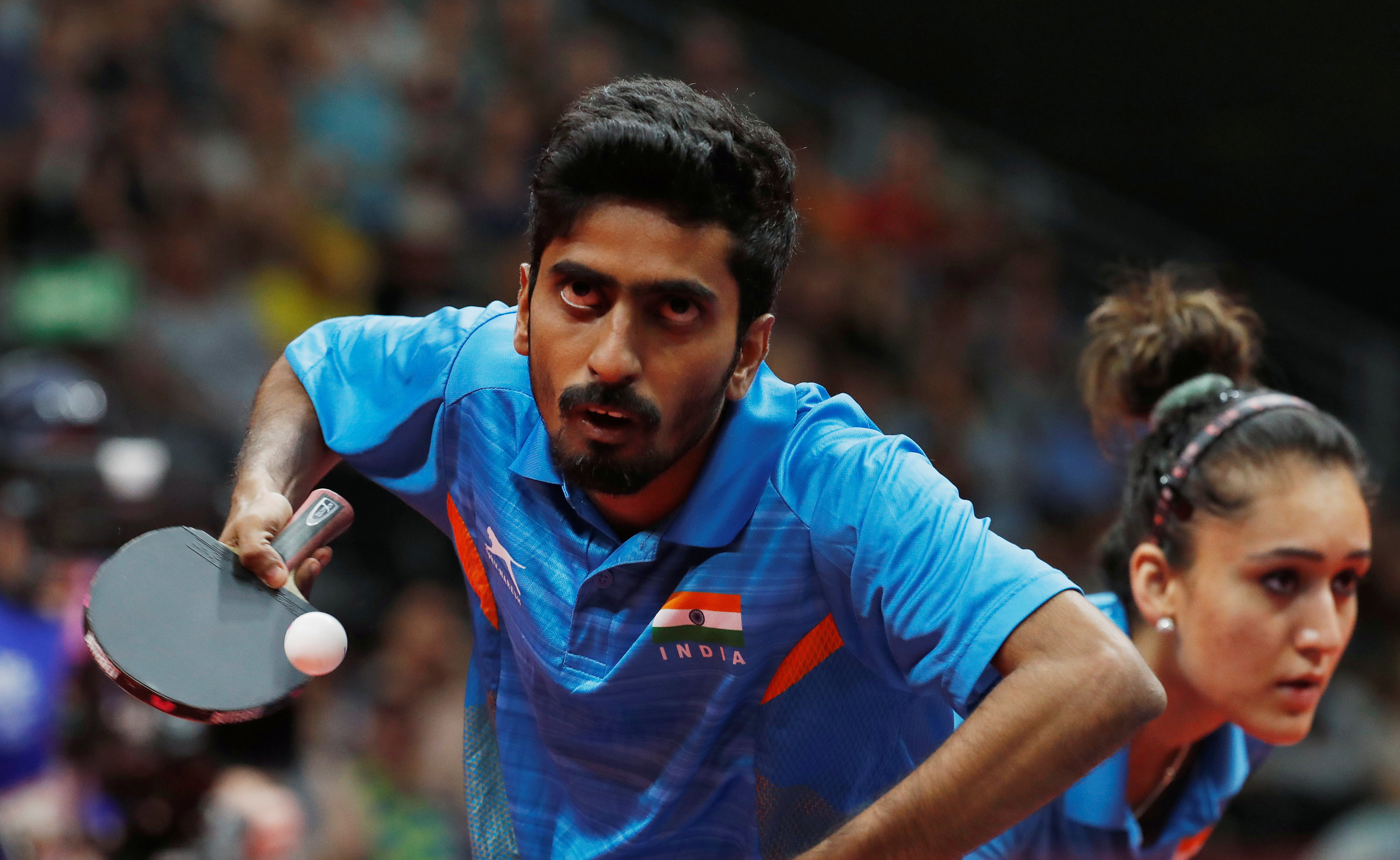 Table Tennis - Gold Coast 2018 Commonwealth Games -  Mixed Doubles Semifinal 2 - England v India - Oxenford Studios - Gold Coast, Australia - April 14, 2018. Sathiyan Gnanasekaran of India in action. REUTERS/Jeremy Lee/File Photo