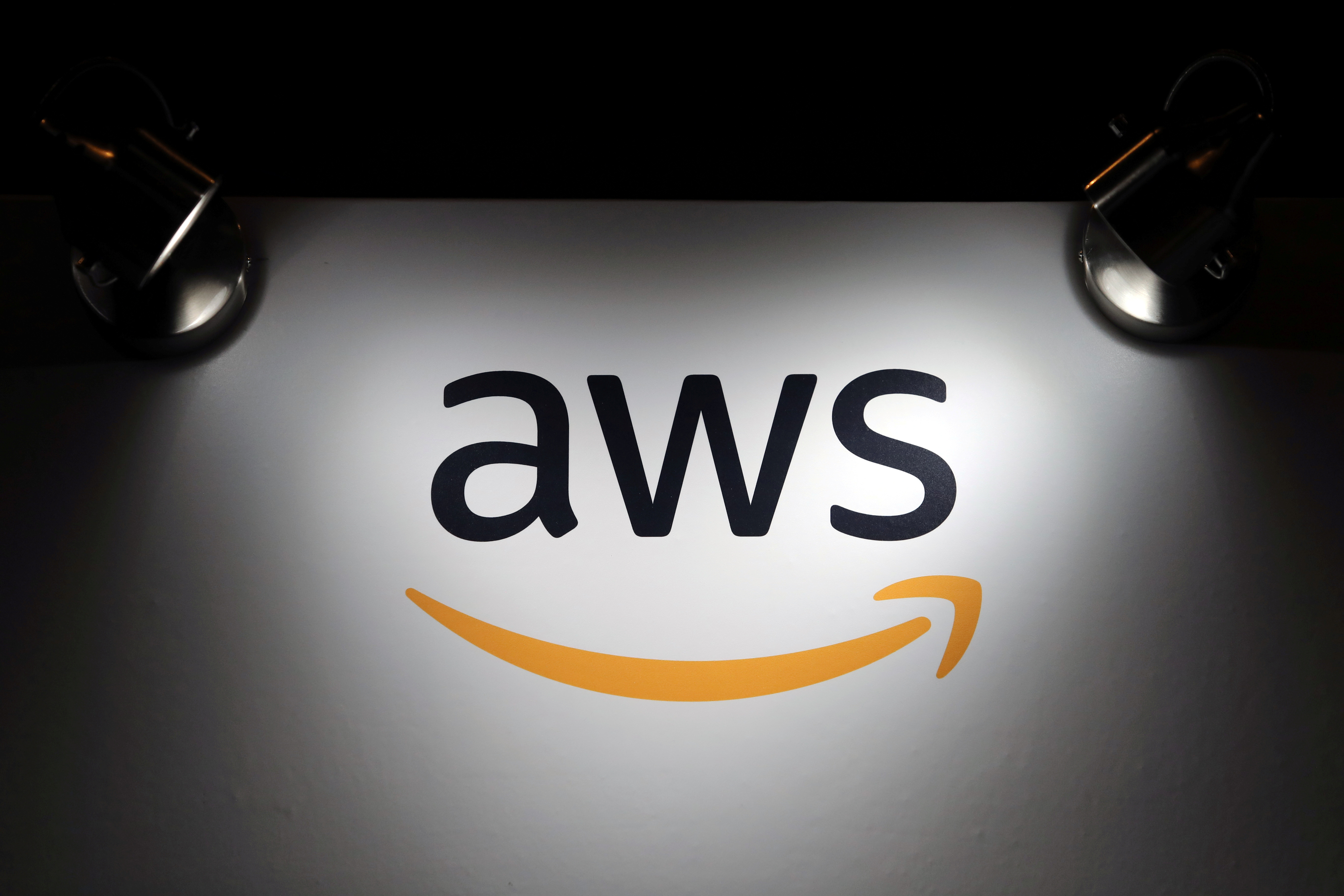 The logo of Amazon Web Services (AWS) is seen during the 4th annual America Digital Latin American Congress of Business and Technology in Santiago, Chile, September 5, 2018. REUTERS/Ivan Alvarado