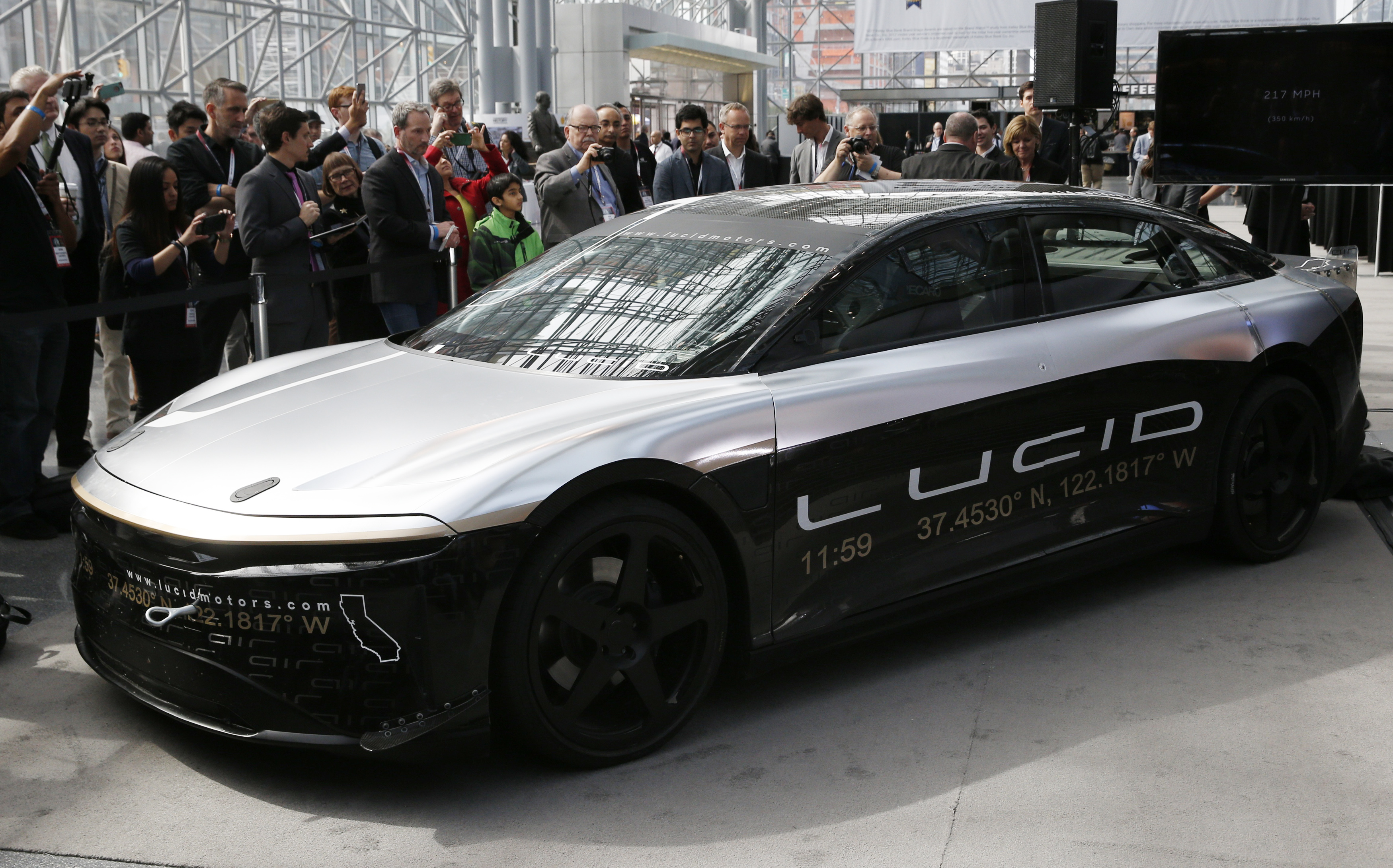 The Lucid Air speed test car is displayed at the 2017 New York International Auto Show in New York City, U.S. April 13, 2017. REUTERS/Andrew Kelly