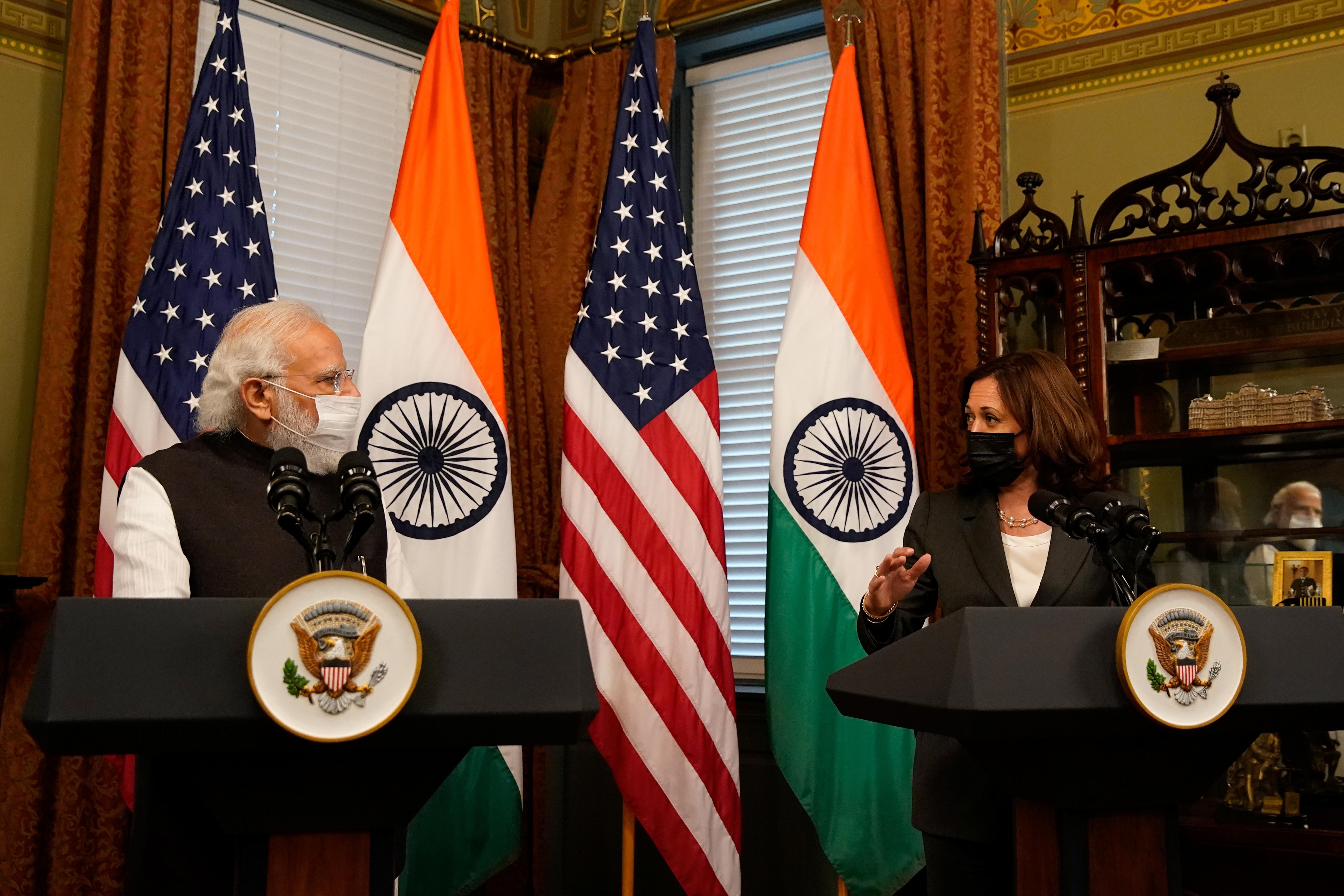 U.S. Vice President Kamala Harris delivers remarks beside Indian Prime Minister Narendra Modi inside the Eisenhower Executive Office Building at the White House in Washington, U.S., September 23, 2021. REUTERS/Elizabeth Frantz